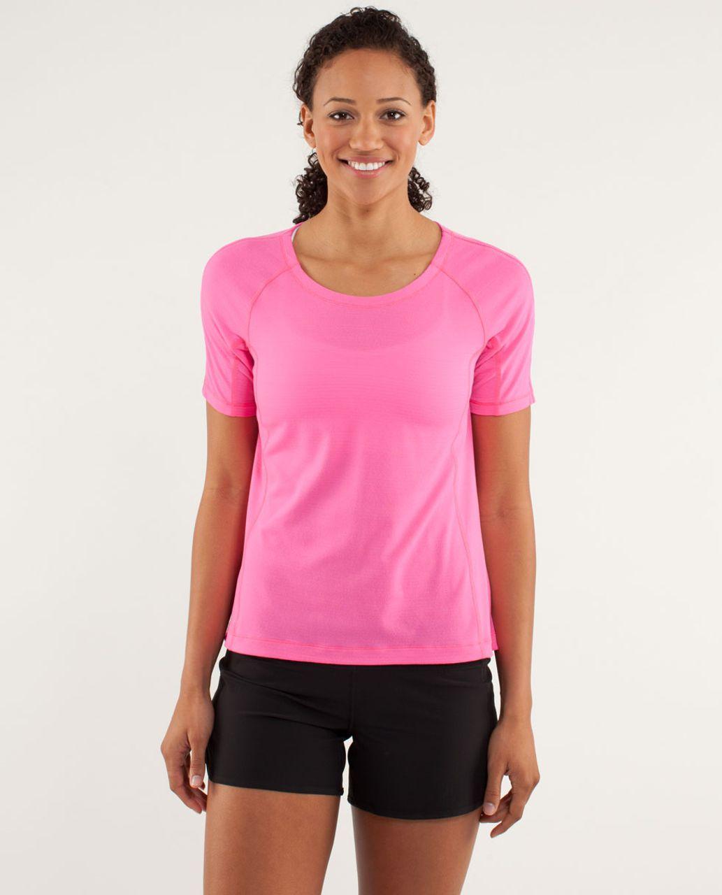 Lululemon Run:  Silver Lining Short Sleeve - Pinkelicious / Parfait Pink