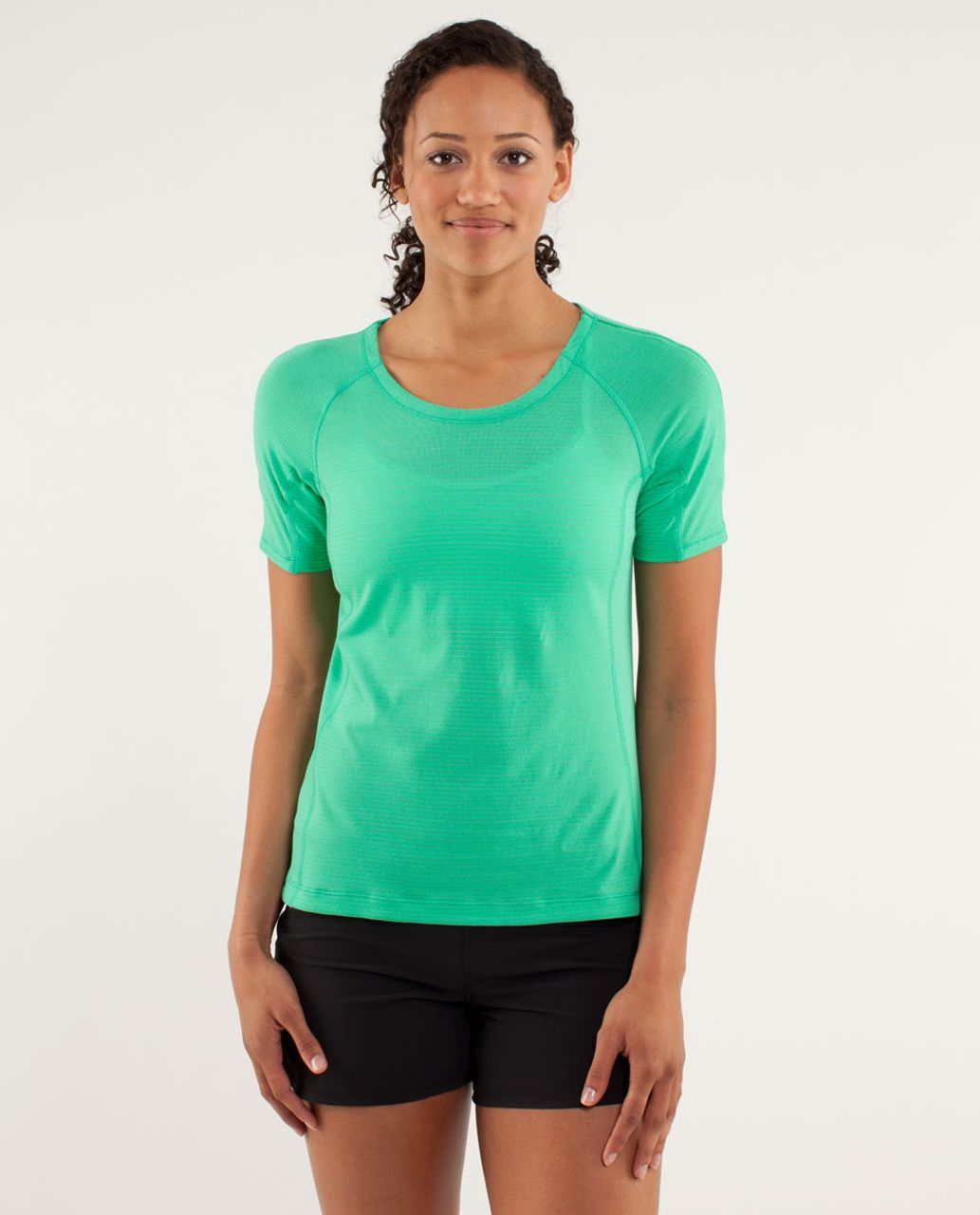 Lululemon Run:  Silver Lining Short Sleeve - Very Green / Fresh Teal
