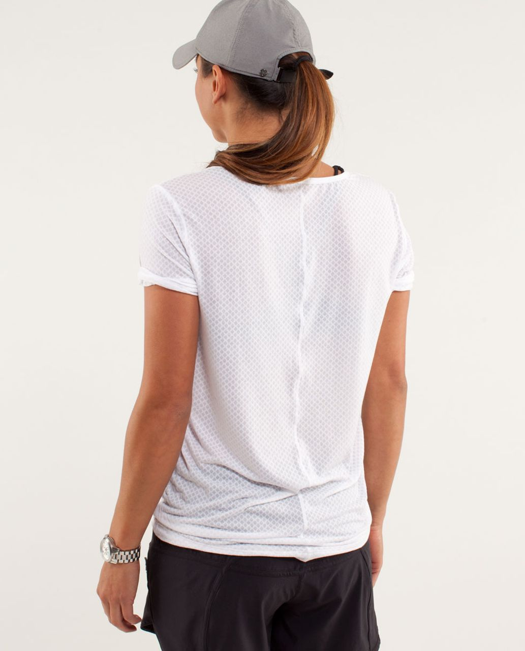 Lululemon Drish Tee - Mesh Burnout White / White