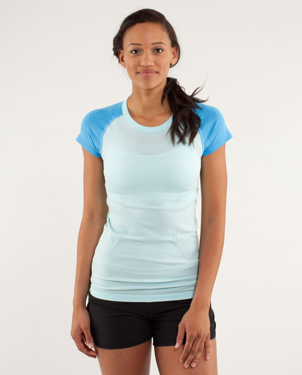 Lululemon Run:  Swiftly Tech Short Sleeve - Aquamarine / Beach Blanket Blue