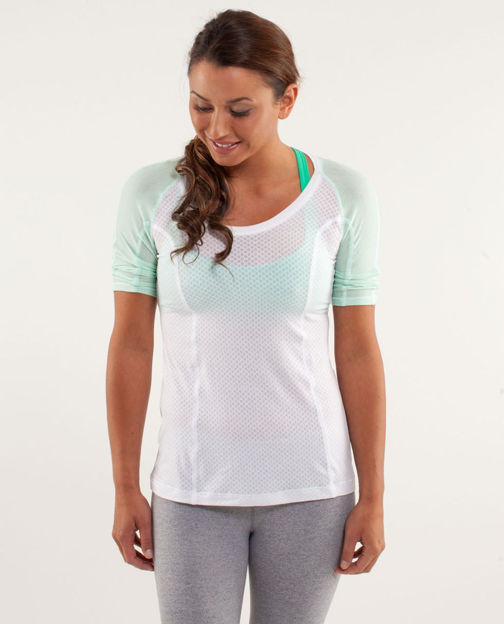 Lululemon Puri Tee Short Sleeve - Mesh Burnout White / White / Tonka Stripe Fresh Teal