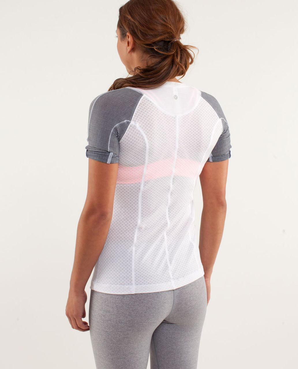 Lululemon Puri Tee Short Sleeve - Mesh Burnout White / White / Tonka Stripe Inkwell