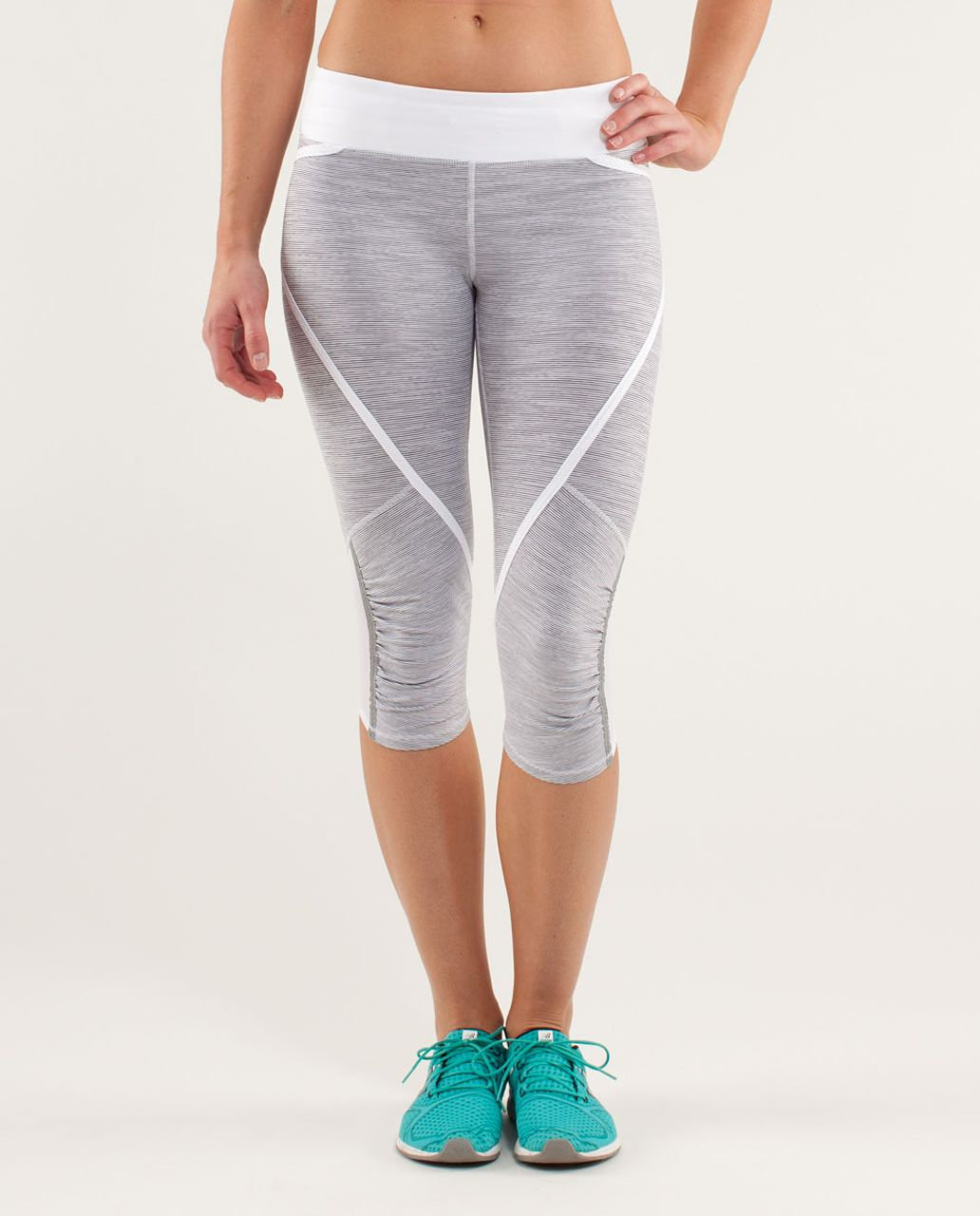 Lululemon Run:  Pace Crop - Wee Are From Space White Combo /  White
