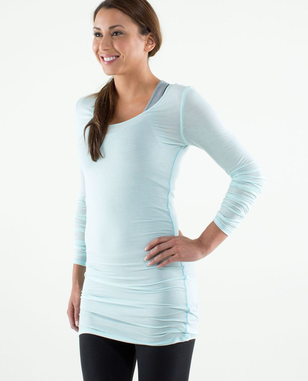 Lululemon Elongate Burnout Long Sleeve - Tonka Stripe Aquamarine