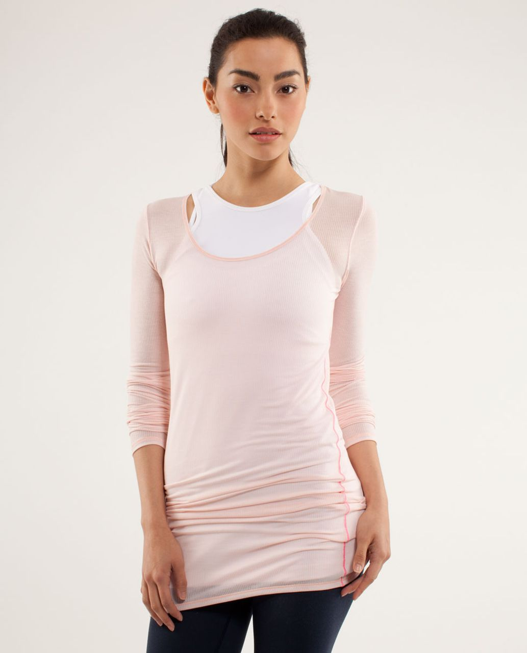 Lululemon Elongate Burnout Long Sleeve - Tonka Stripe Parfait Pink