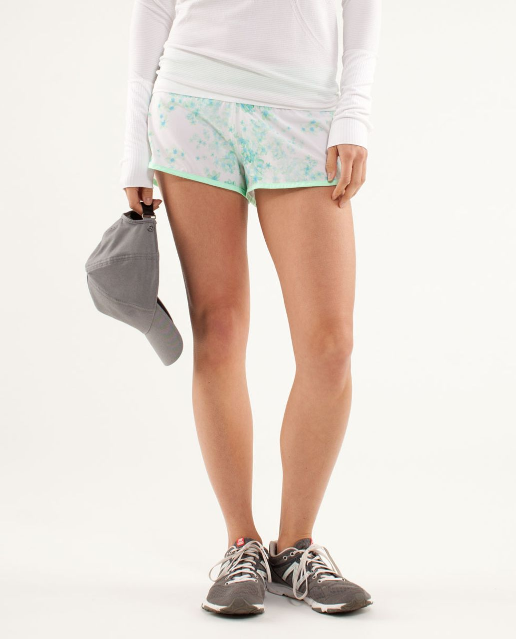 Lululemon Run:  Speed Short - Frangipani Very Green / Fresh Teal