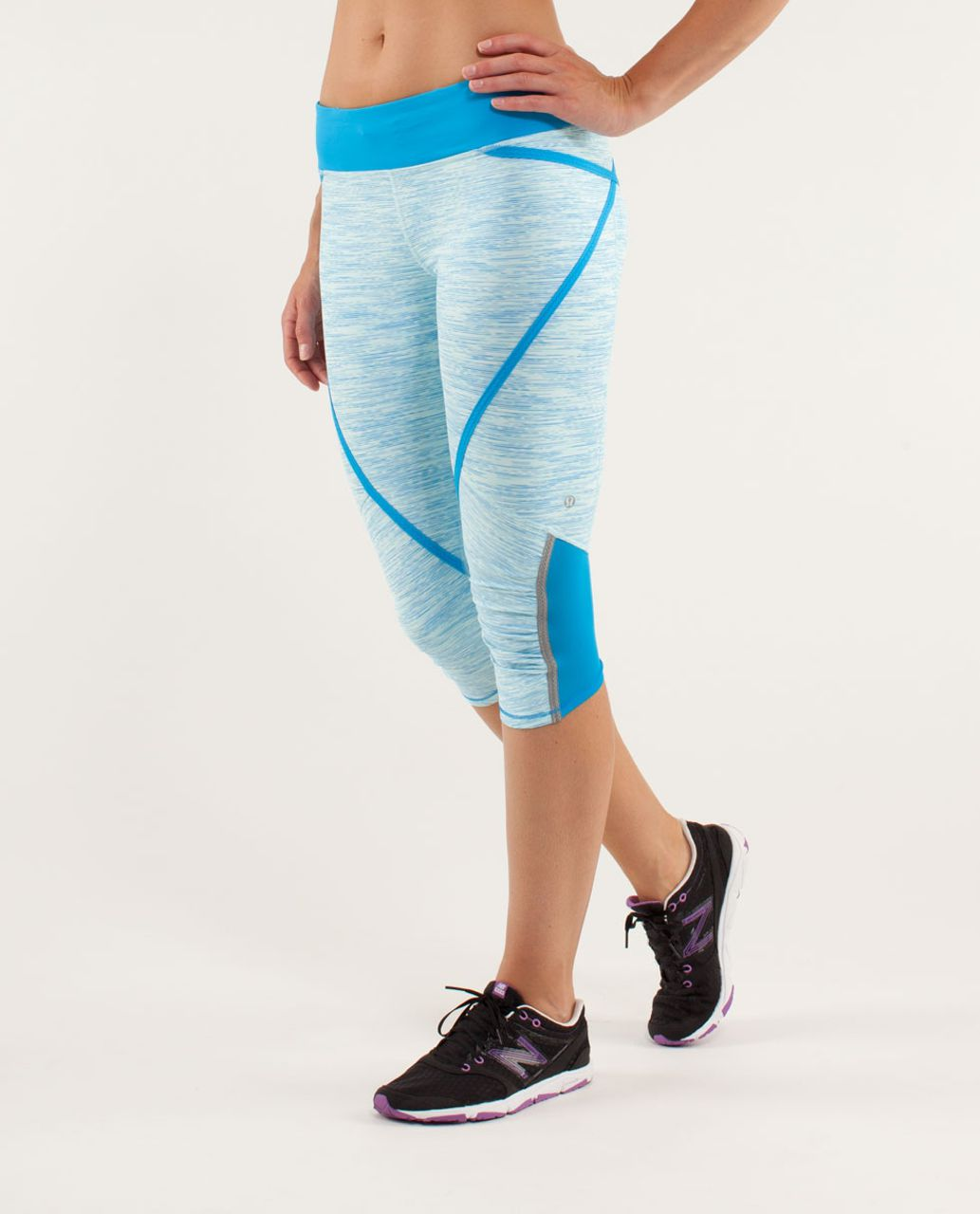 Lululemon Run:  Pace Crop - Wee Are From Space Aquamarine / Beach Blanket Blue / Aquamarine