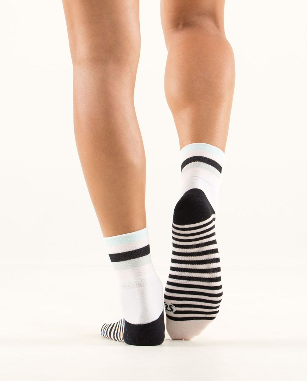 Lululemon Pedal Pusher Cycling Sock - Finish Line Stripe Parfait Pink