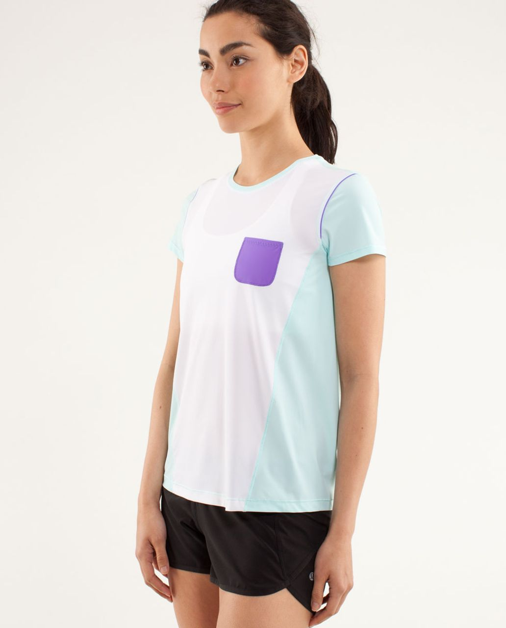 Lululemon Runbeam Short Sleeve - White / Aquamarine