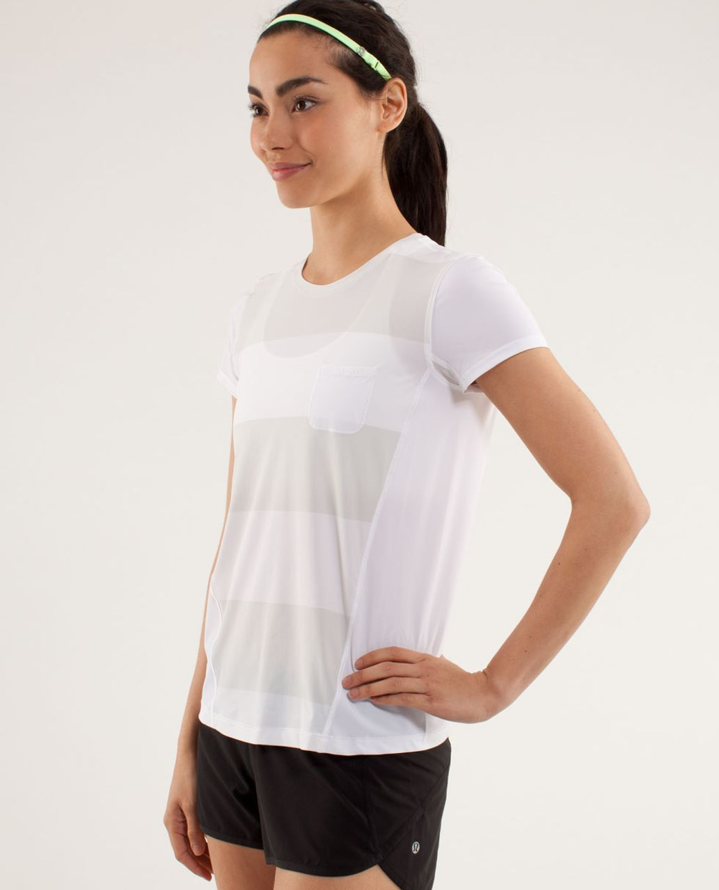 Lululemon Runbeam Short Sleeve - Bold Stripe Printed Nimbus / White