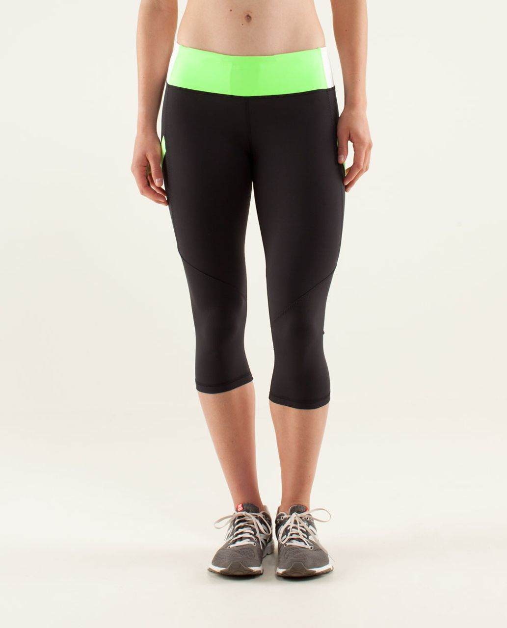 Lululemon Run:  Mod Moves Crop - Black / Zippy Green / White