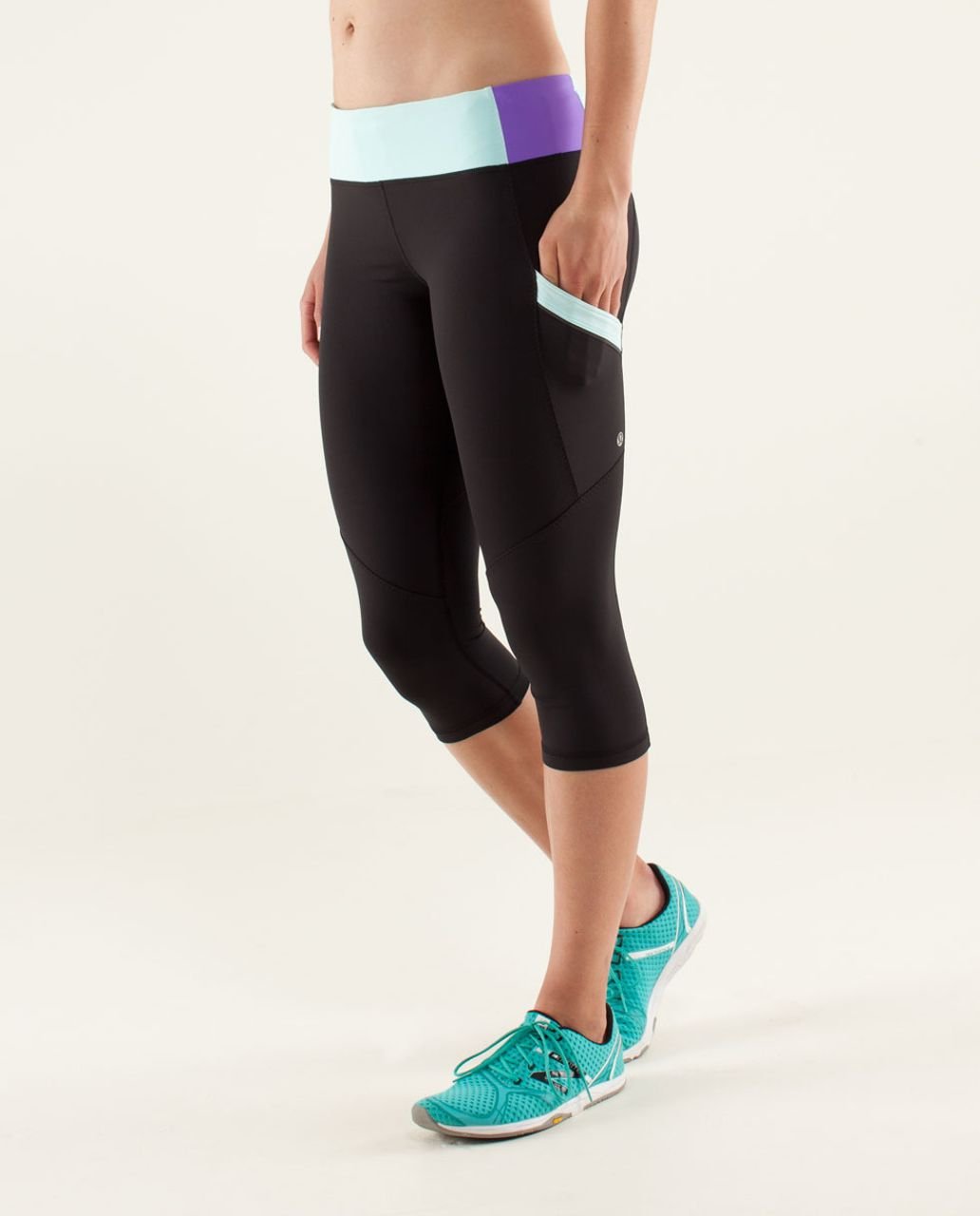 Lululemon Run:  Mod Moves Crop - Black / Aquamarine / Power Purple