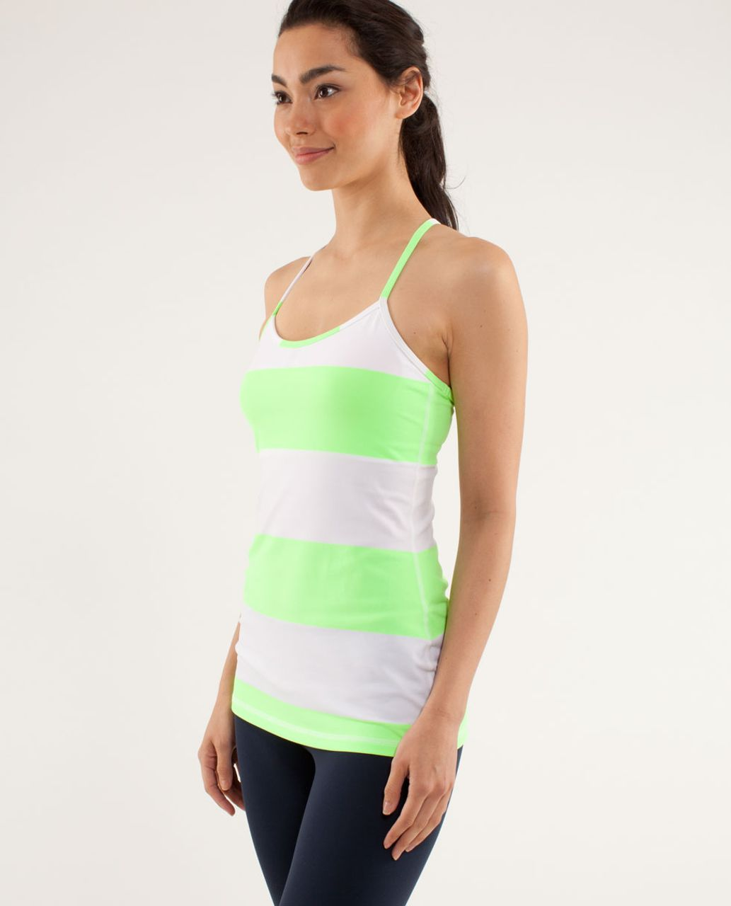 Lululemon Power Y Tank *Luon Light - Bold Stripe Zippy Green