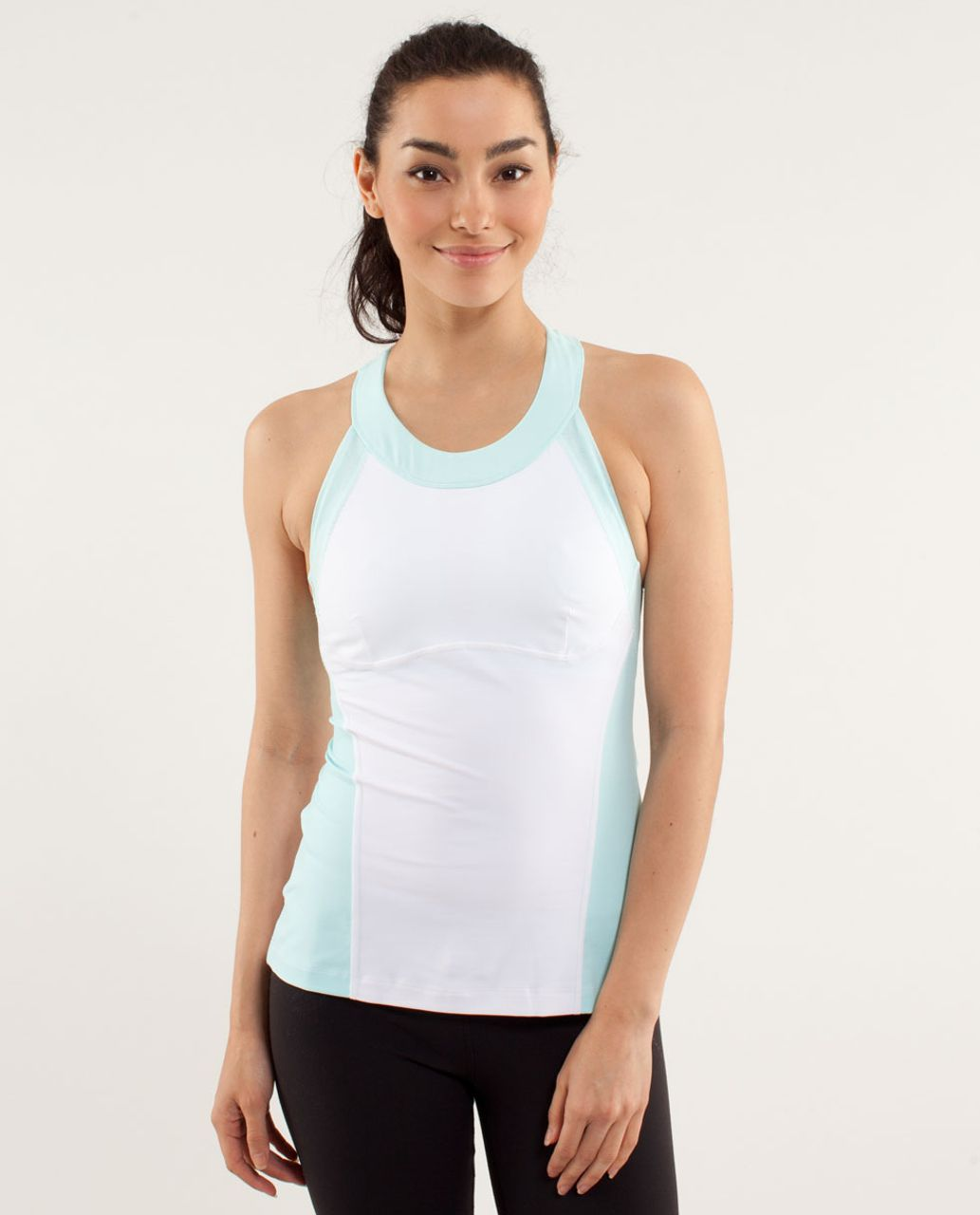 Lululemon Run:  Make It Count Tank - White / Aquamarine
