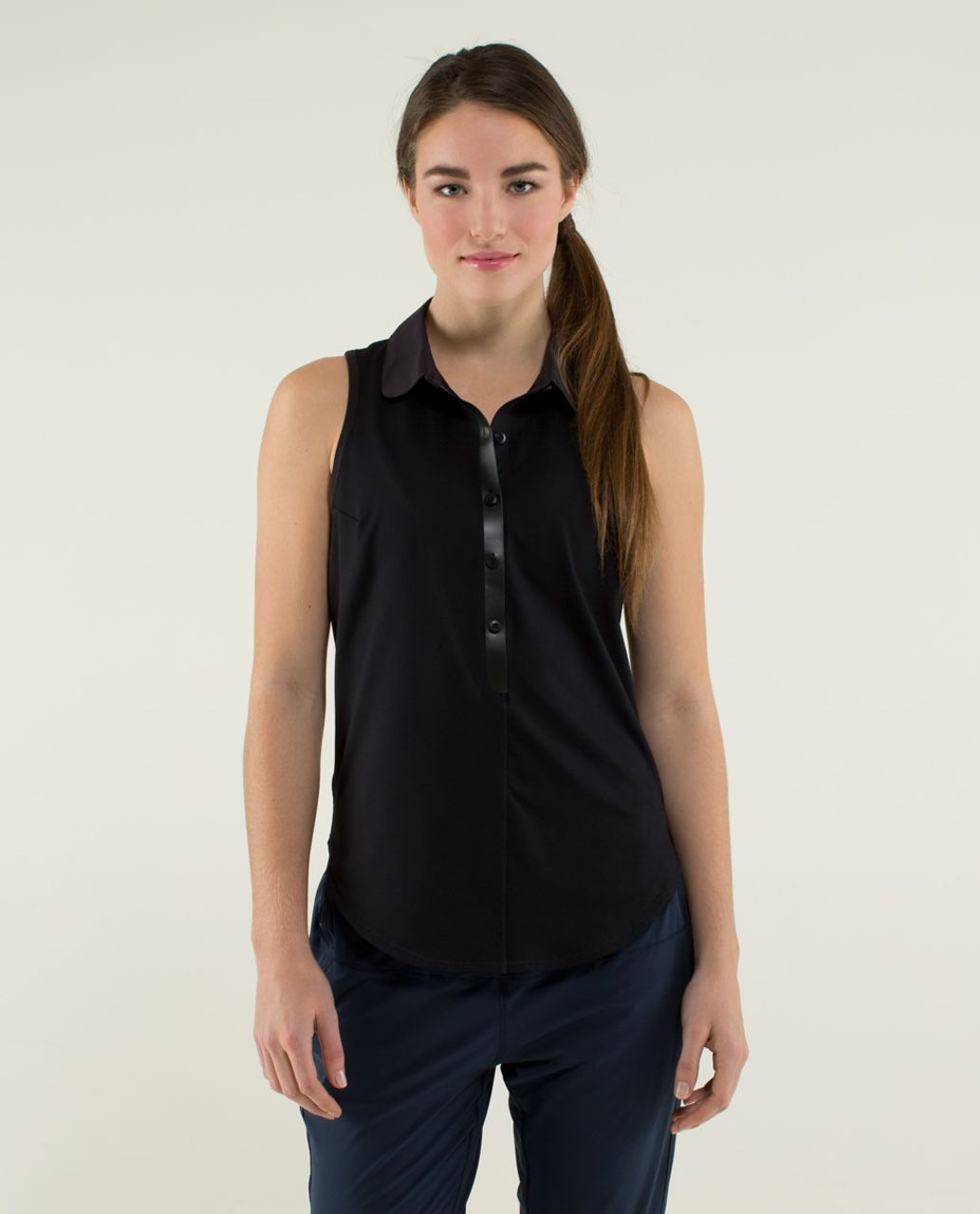 95d3588dd2 Lululemon Hot Hitter Sleeveless Polo - Black - lulu fanatics