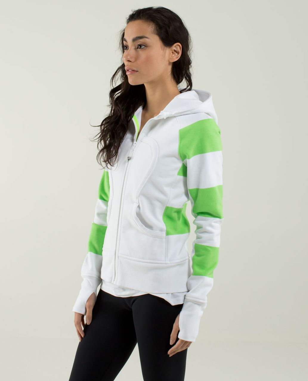 Lululemon Scuba Hoodie *Stretch (Lined Hood) - White / Bold Stripe Zippy Green