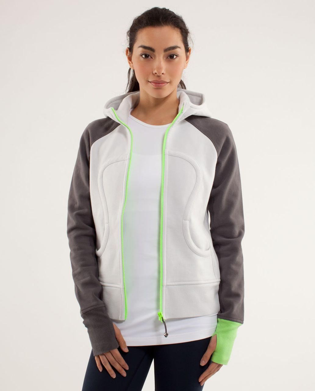 Lululemon Scuba Hoodie *Stretch (Lined Hood) - Nimbus / Soot Light / Zippy Green