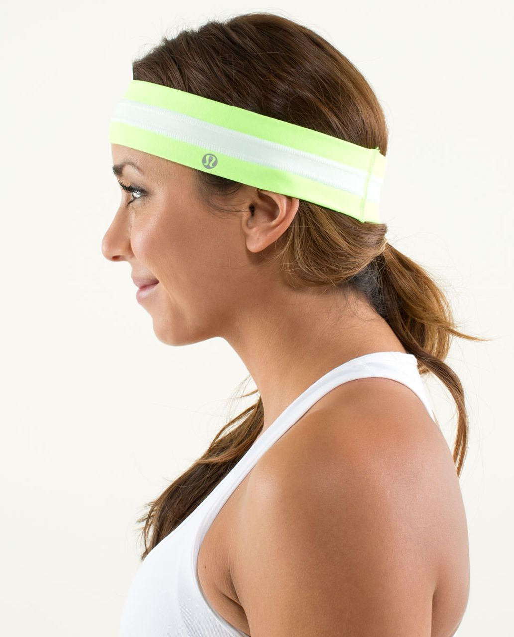 Lululemon Fly Away Tamer Headband - Zippy Green / White