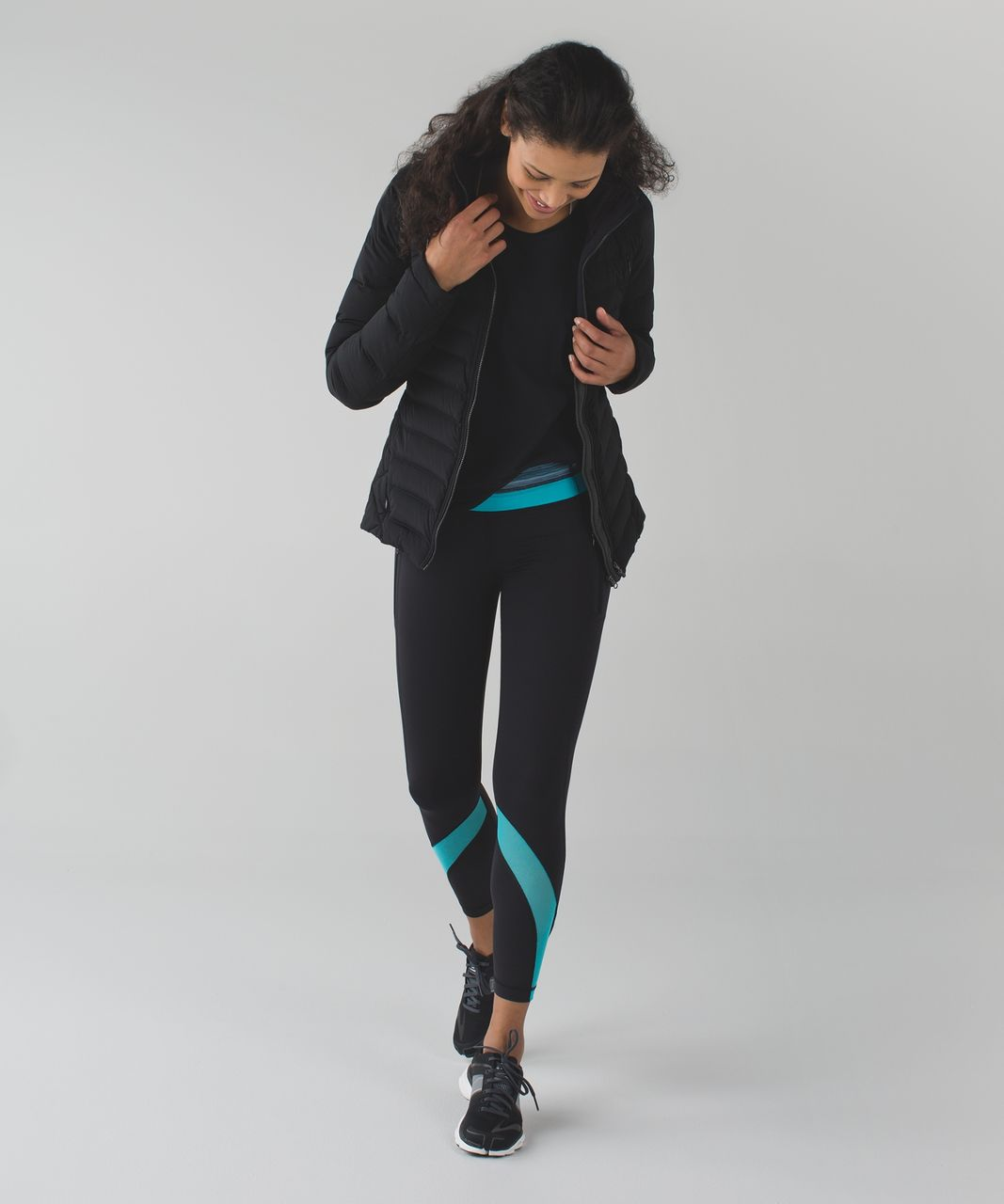 Lululemon Inspire Tight II (Mesh) - Black / Space Dye Twist Naval Blue Peacock Blue