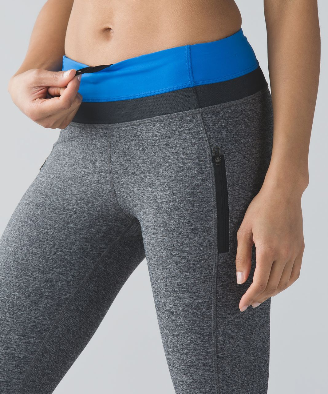 Lululemon Inspire Tight II (Mesh) - Heathered Black / Lakeside Blue / Deep Coal