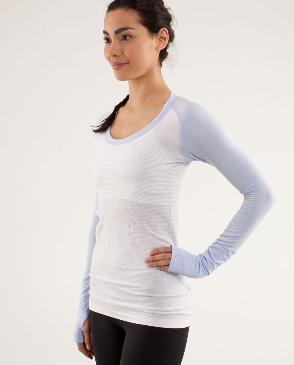 Lululemon Run:  Swiftly Tech Long Sleeve Scoop - White / Cool Breeze