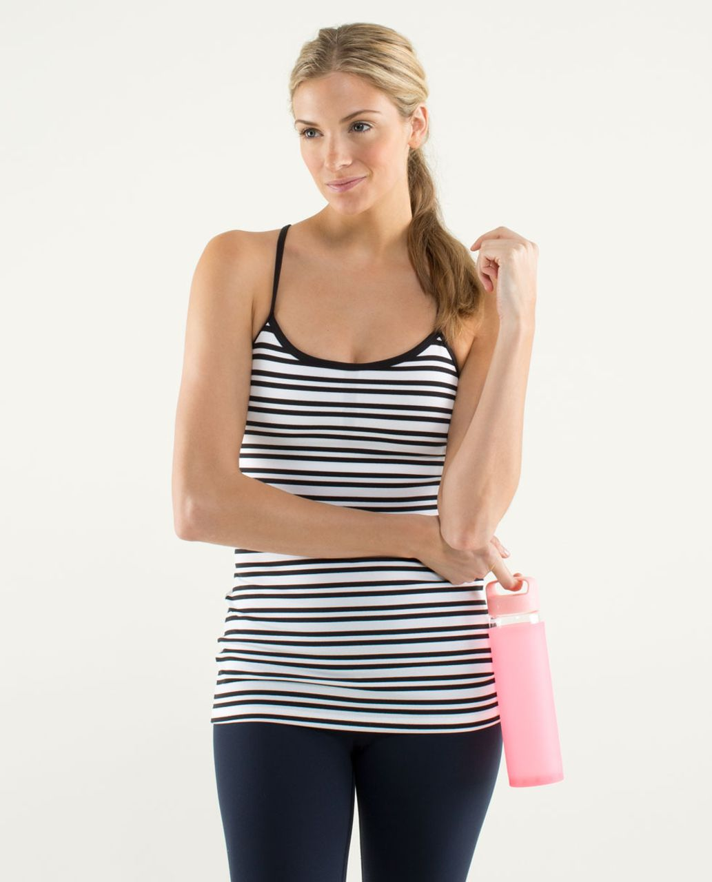 Lululemon Power Y Tank *Luon Light - Twin Stripe Black / Black