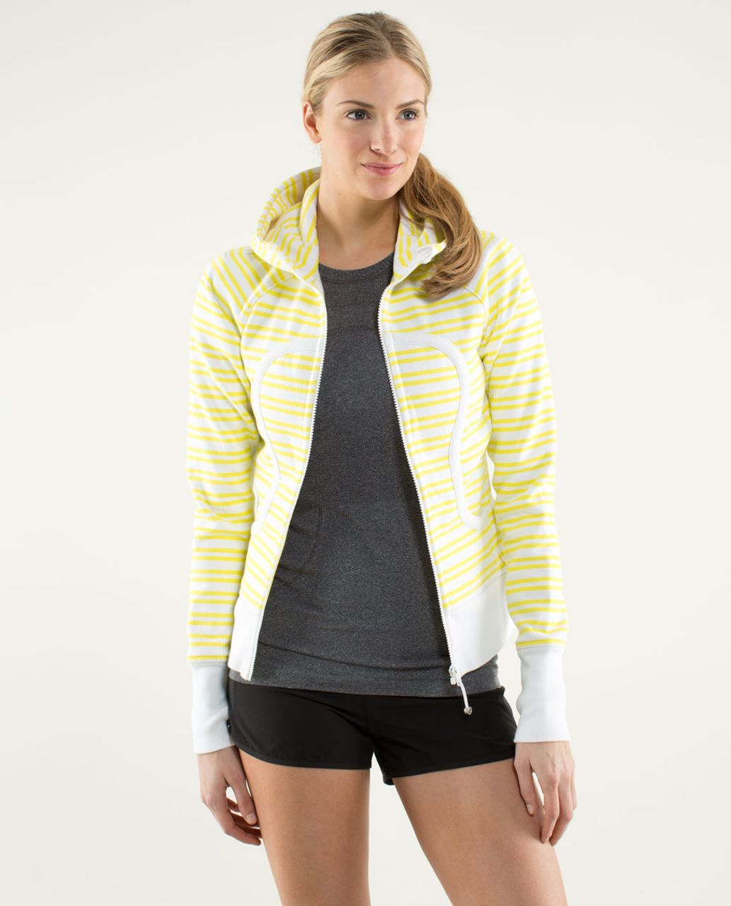 Lululemon Scuba Hoodie *Stretch (Lined Hood) - Twin Stripe Printed Sizzle / White