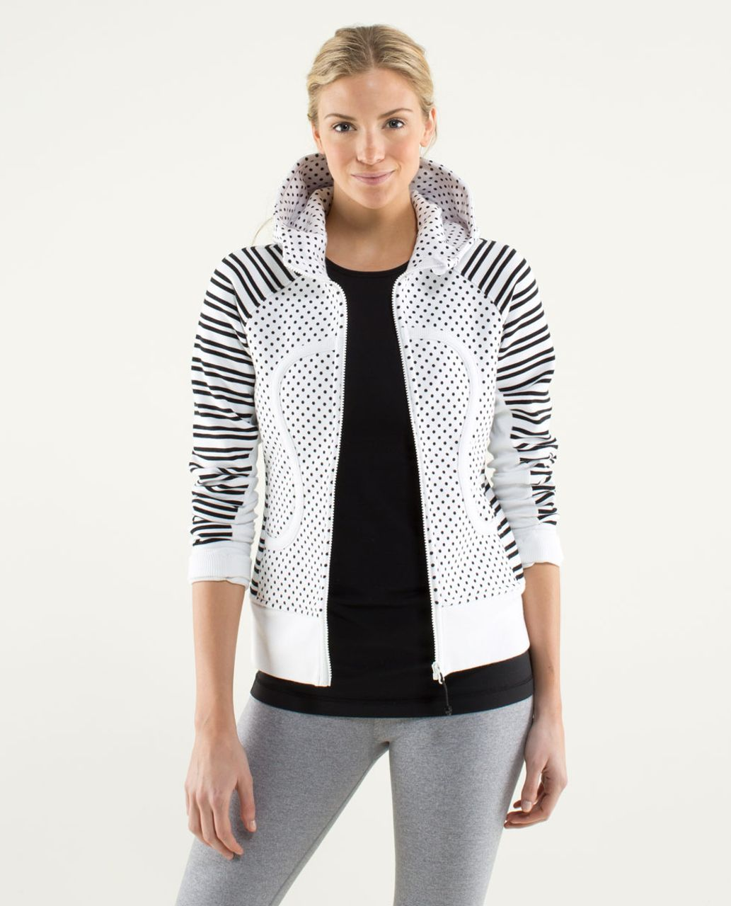 Lululemon Scuba Hoodie *Stretch (Lined Hood) - Mod Dot Printed Black / Twin Stripe Black