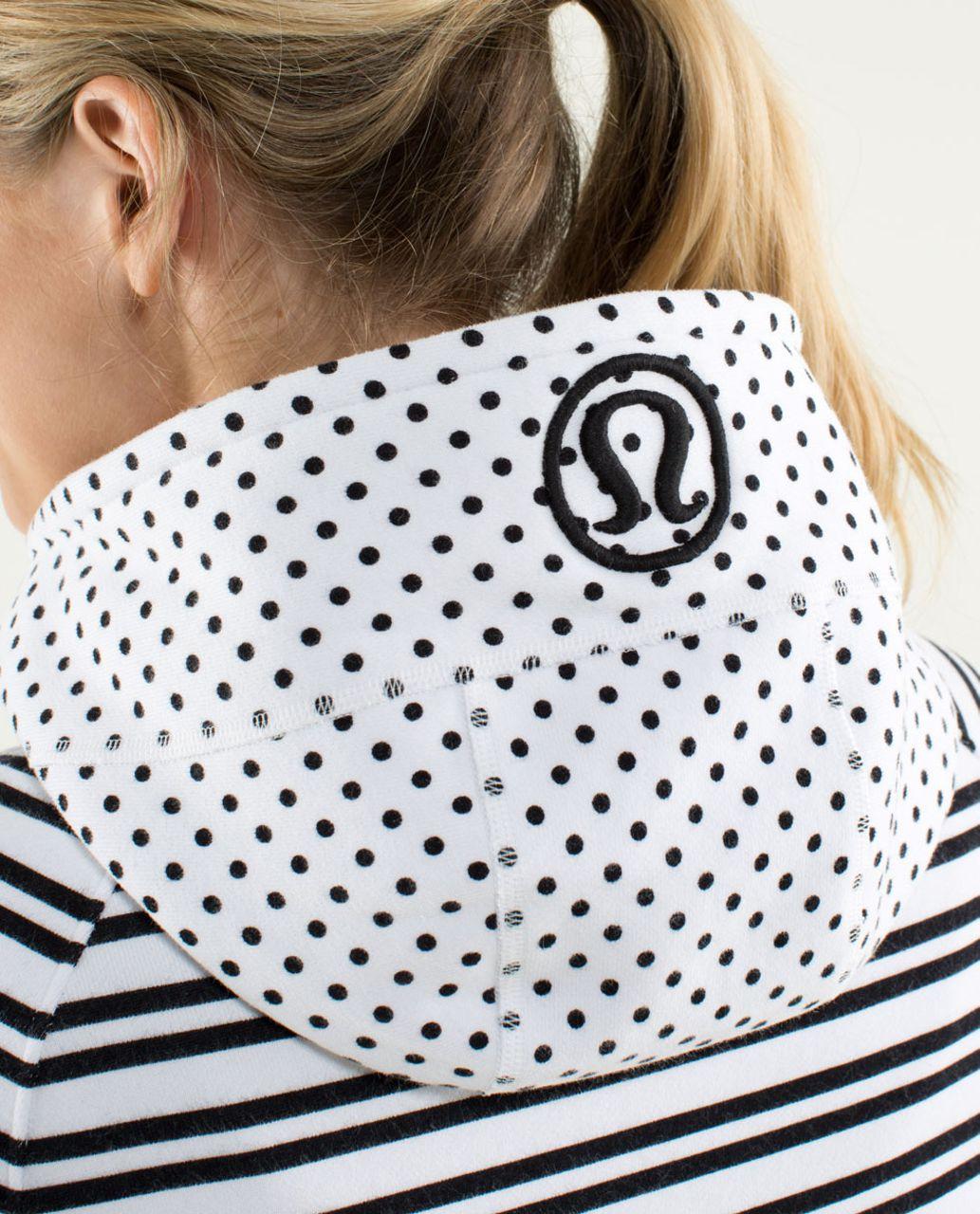 Lululemon Scuba Hoodie *Stretch (Lined Hood) - Mod Dot Printed Black / Twin Stripe Black