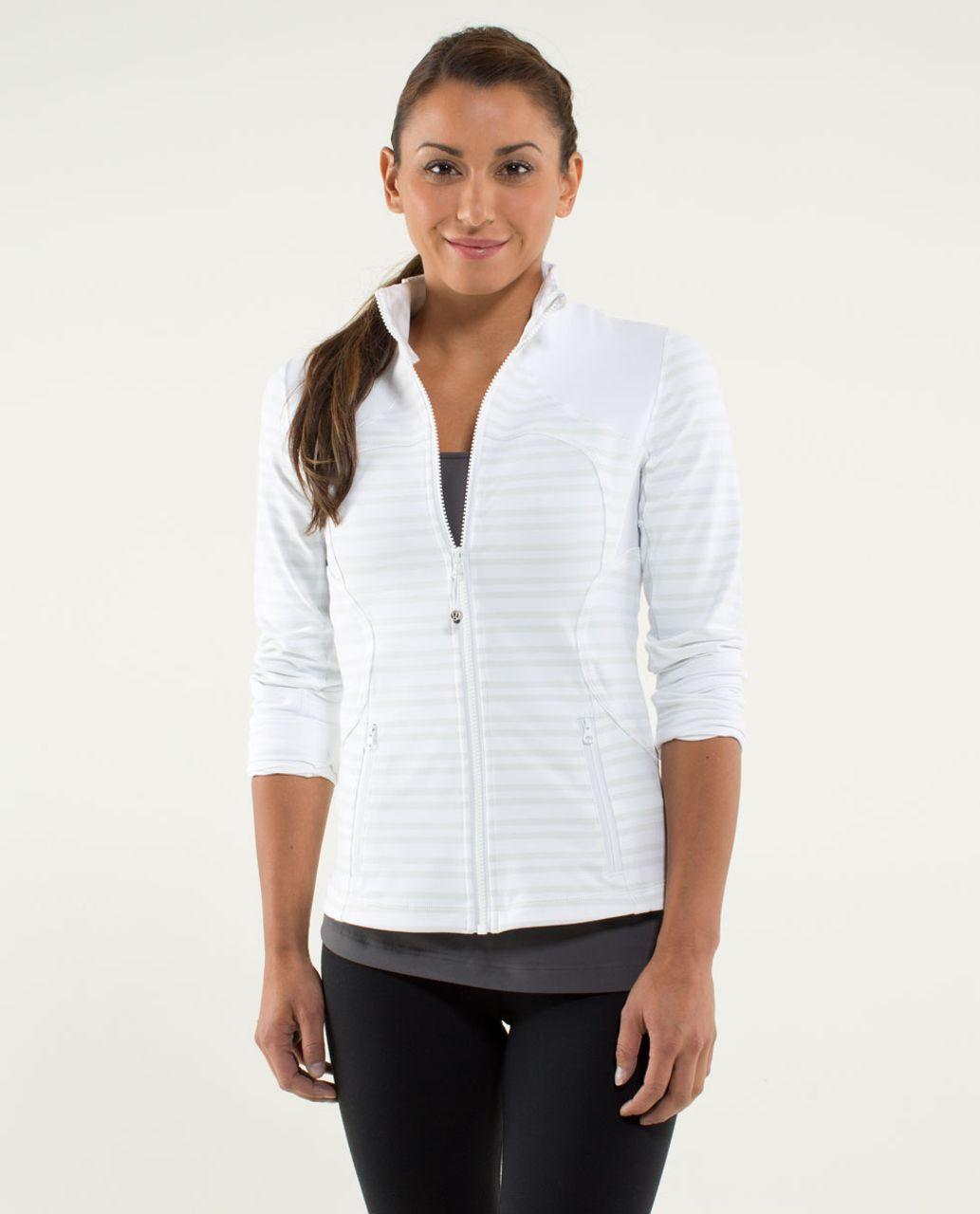 Lululemon Forme Jacket - Twin Stripe Nimbus / White