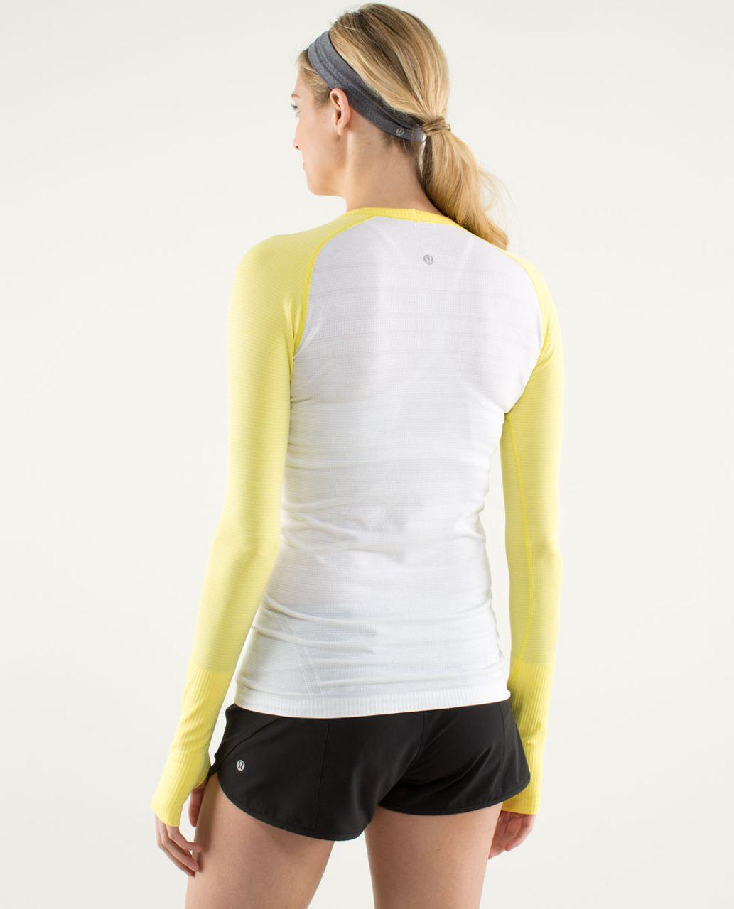 Lululemon Run:  Swiftly Tech Long Sleeve - White / Sizzle