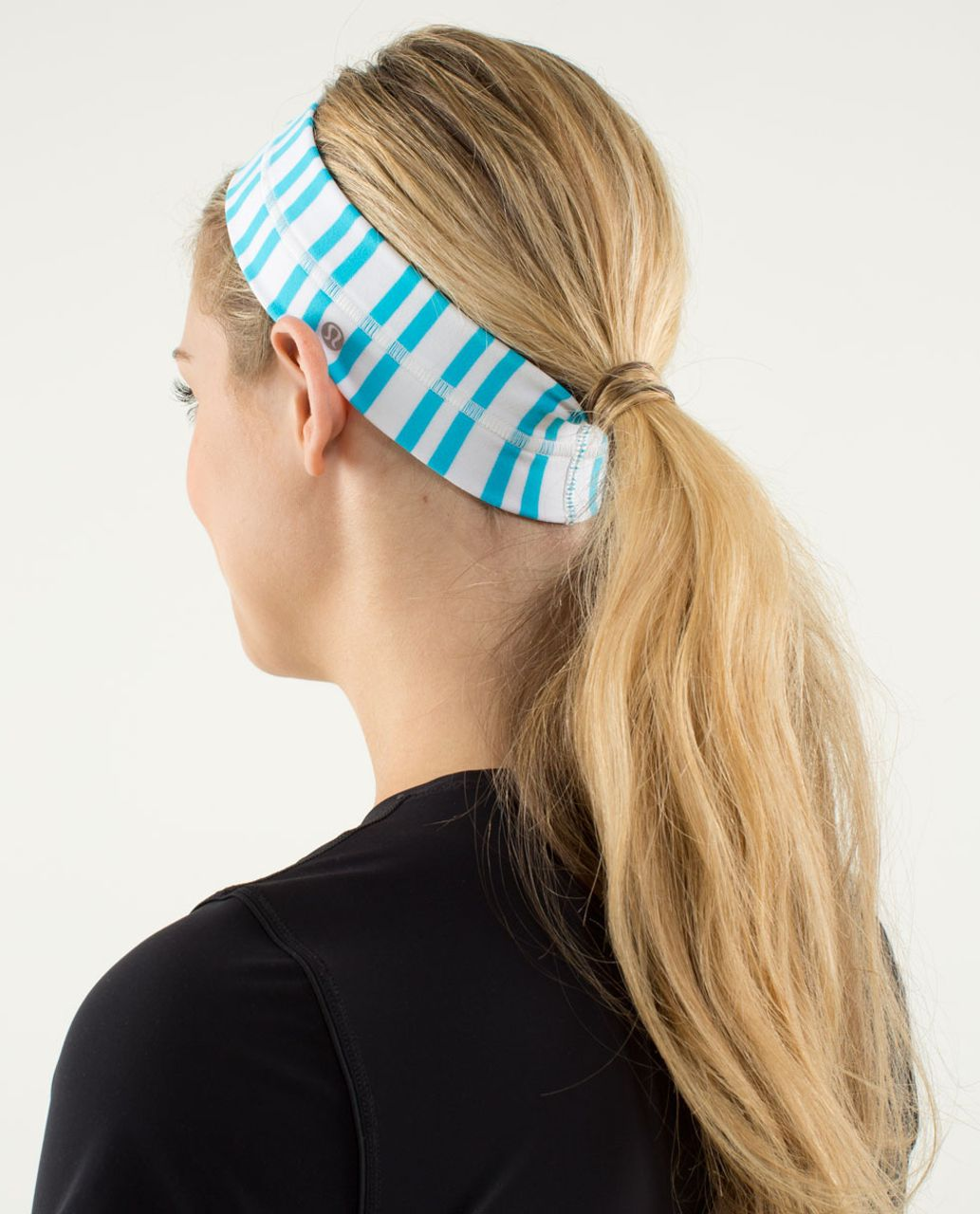 Lululemon Fly Away Tamer Headband - Twin Stripe Spry Blue