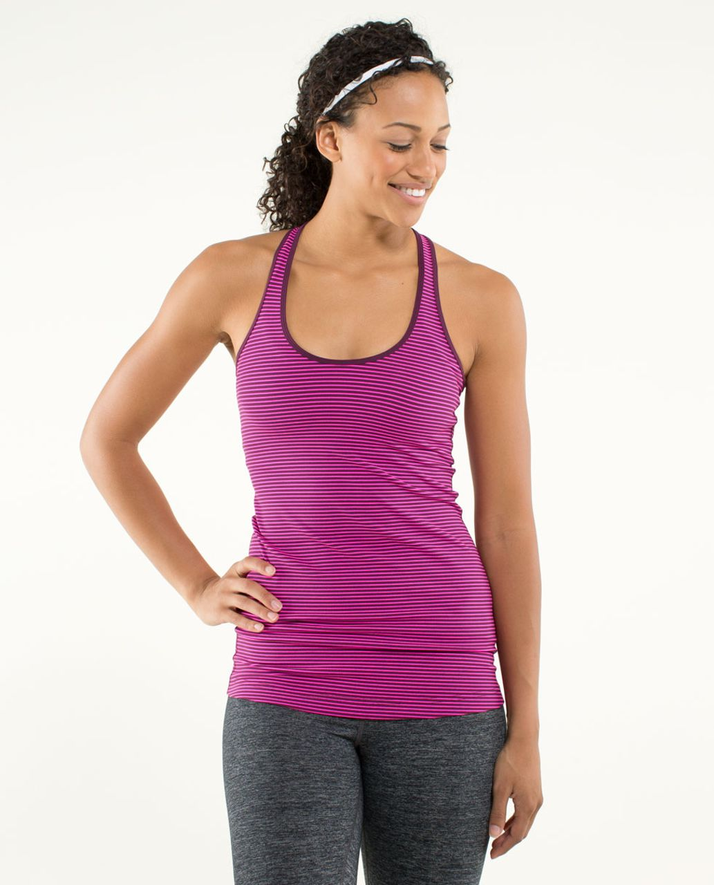 Lululemon Cool Racerback - Hyper Stripe Raspberry Glo Light / Plum