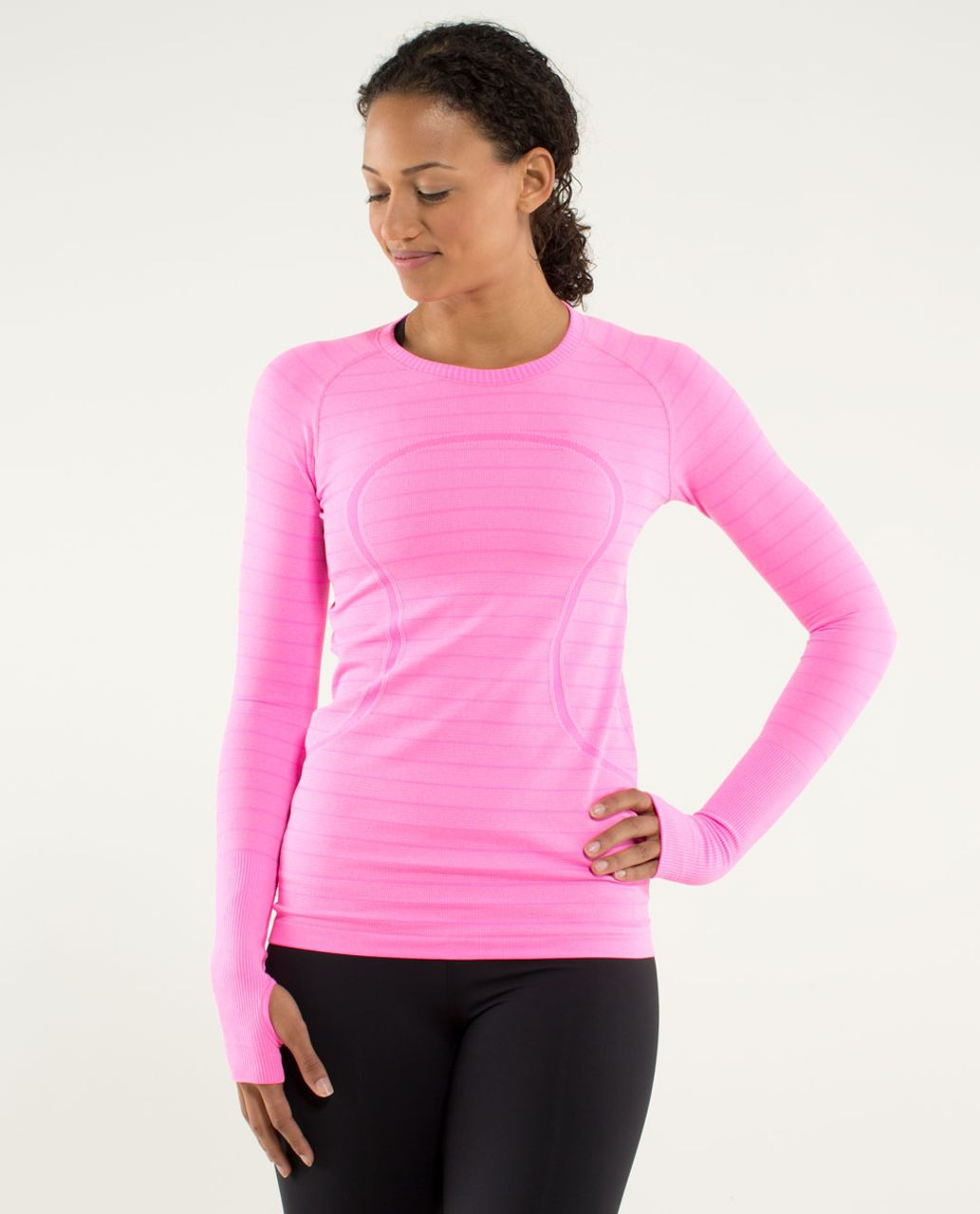Lululemon Run:  Swiftly Tech Long Sleeve - Heathered Raspberry Glo Light