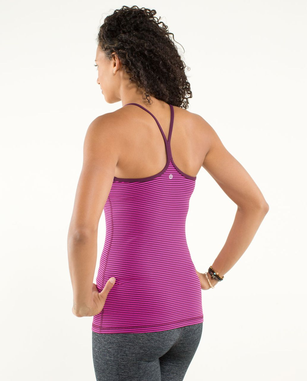 Lululemon Power Y Tank *Luon Light - Hyper Stripe Raspberry Glo Light / Plum