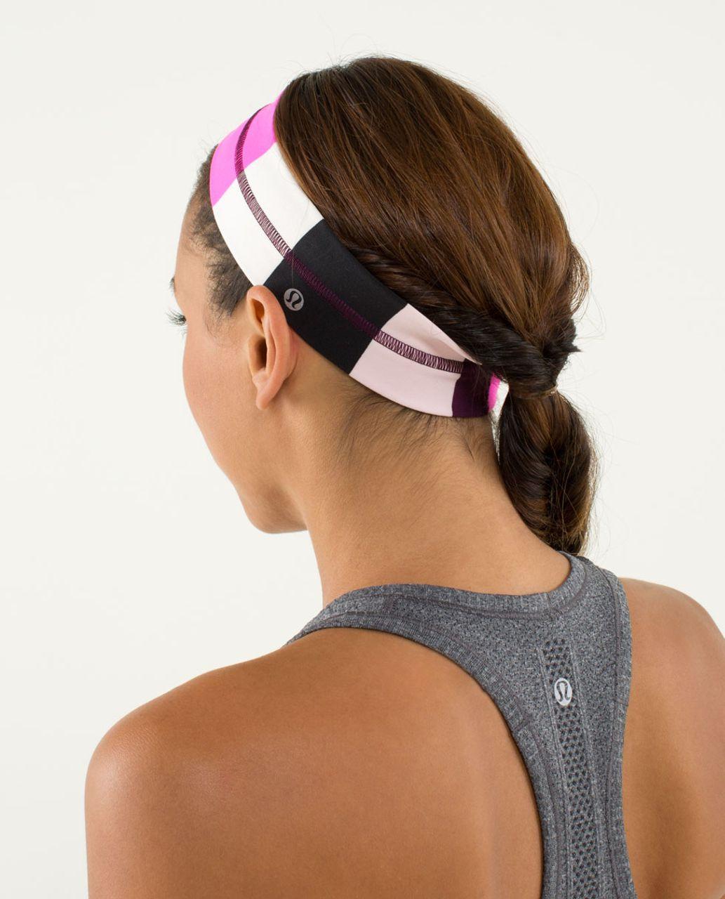 Lululemon Fly Away Tamer Headband - Pow Stripe Raspberry Glo Light