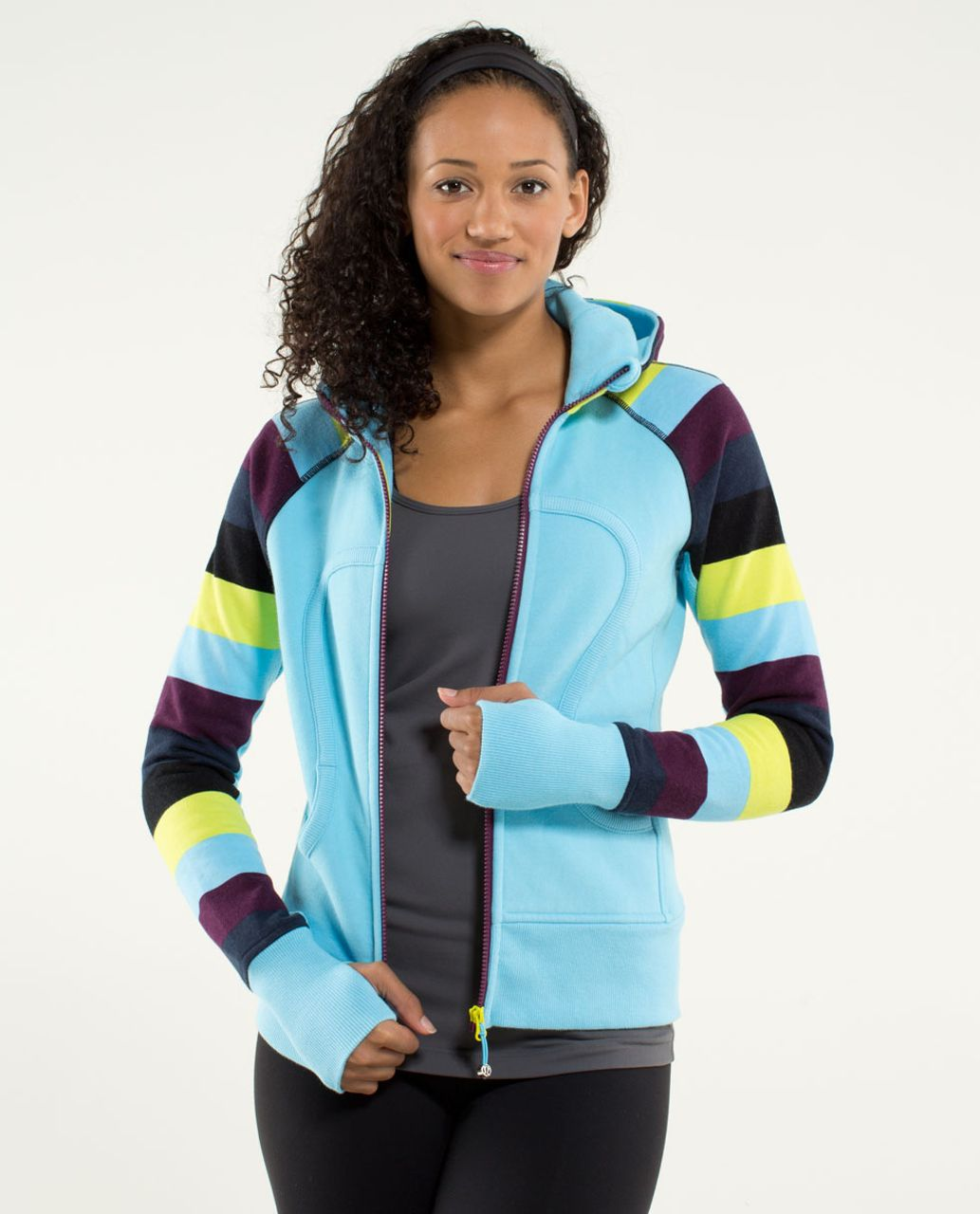 Lululemon Scuba Hoodie *Stretch (Lined Hood) - Blue Moon / Pow Stripe Printed Split Pea