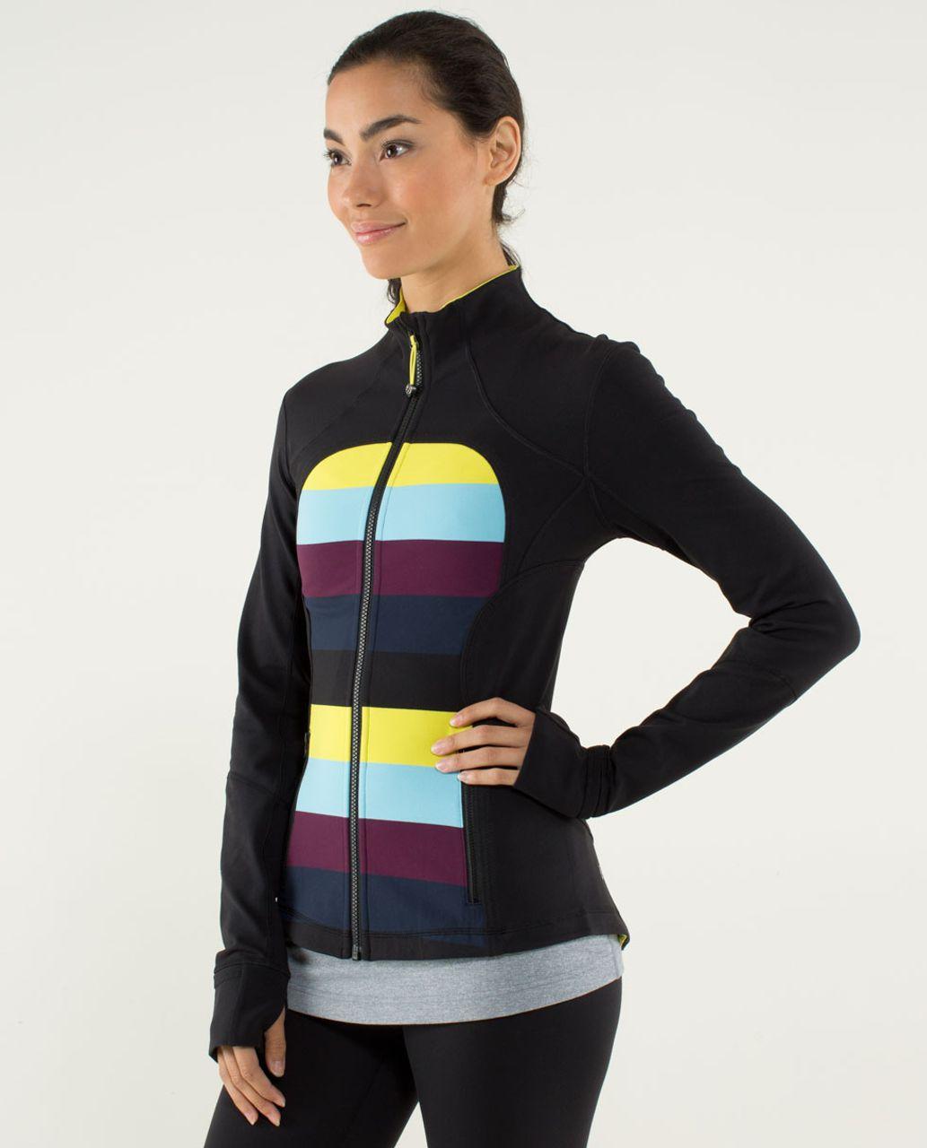 Lululemon Forme Jacket *Cuffins - Pow Stripe Split Pea / Black