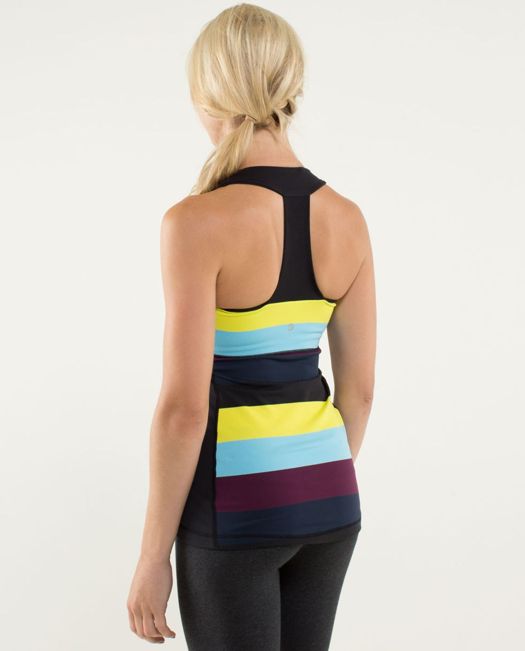 Lululemon Scoop Neck Tank - Pow Stripe Split Pea / Black
