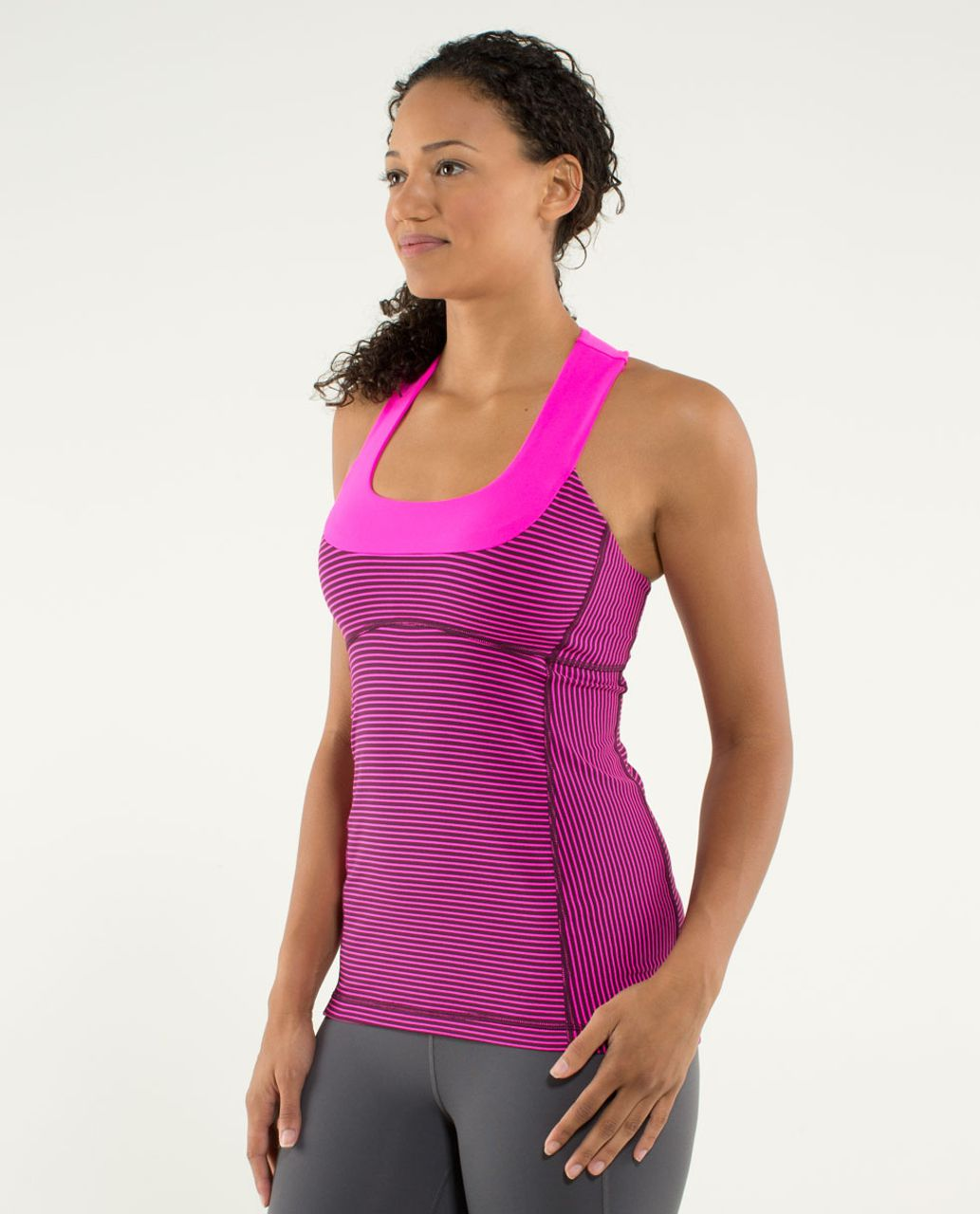Lululemon Scoop Neck Tank - Hyper Stripe Raspberry Glo Light / Raspberry Glo Light