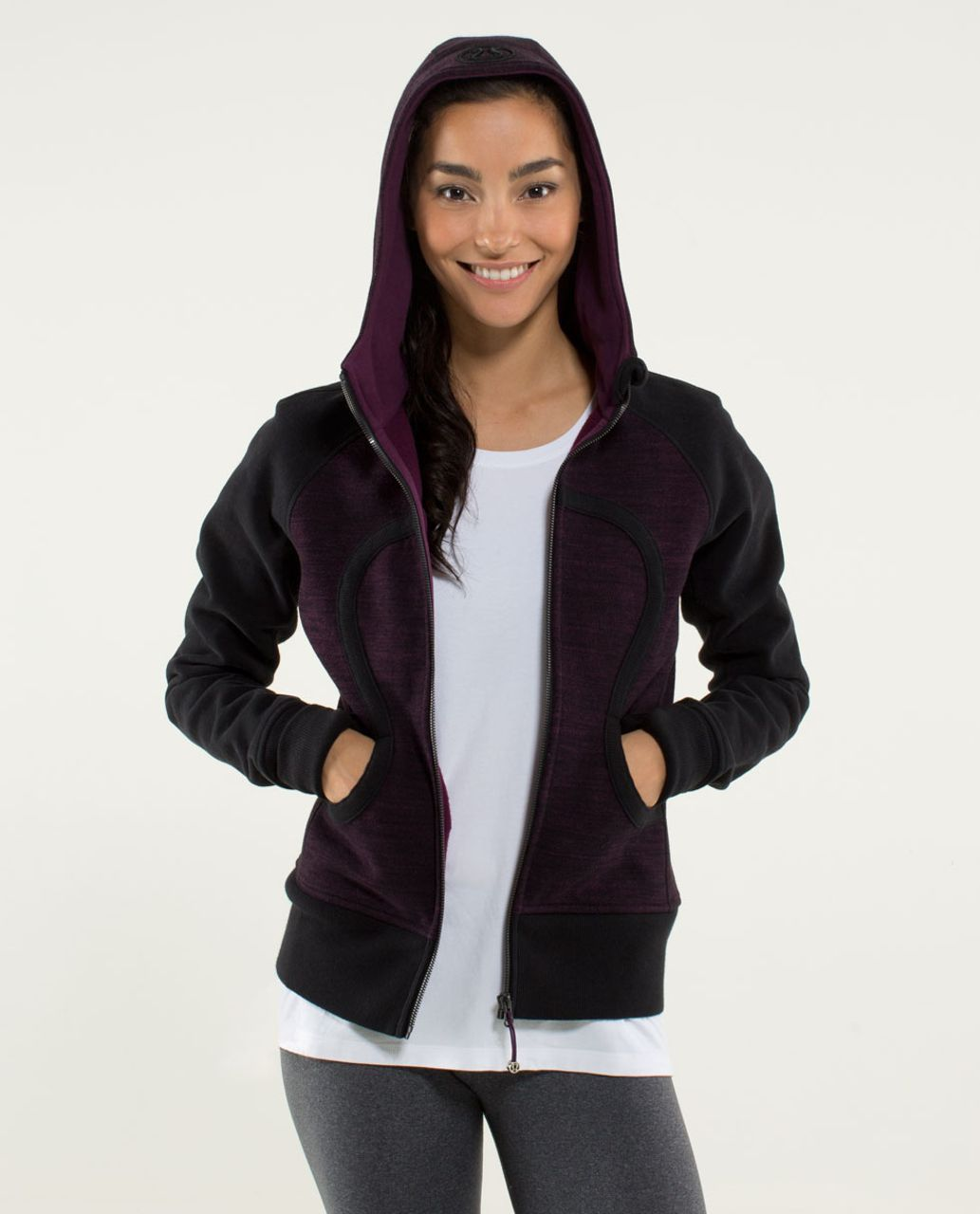 Lululemon Scuba Hoodie *Stretch (Lined Hood) - Commuter Denim Black / Black / Plum
