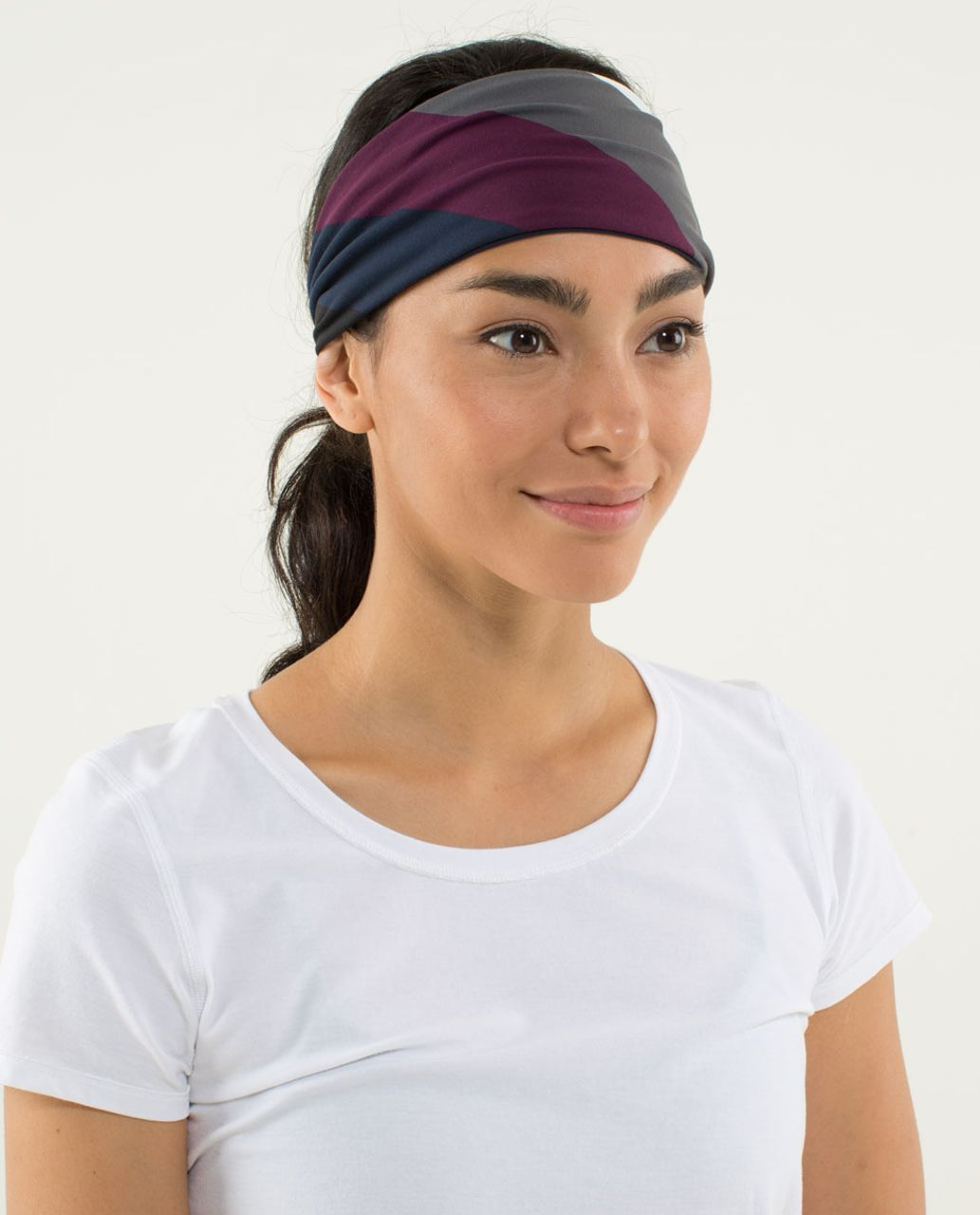 16618930db Lululemon Bang Buster Headband *Reversible - Pow Stripe Angel Wing / Inkwell  - lulu fanatics