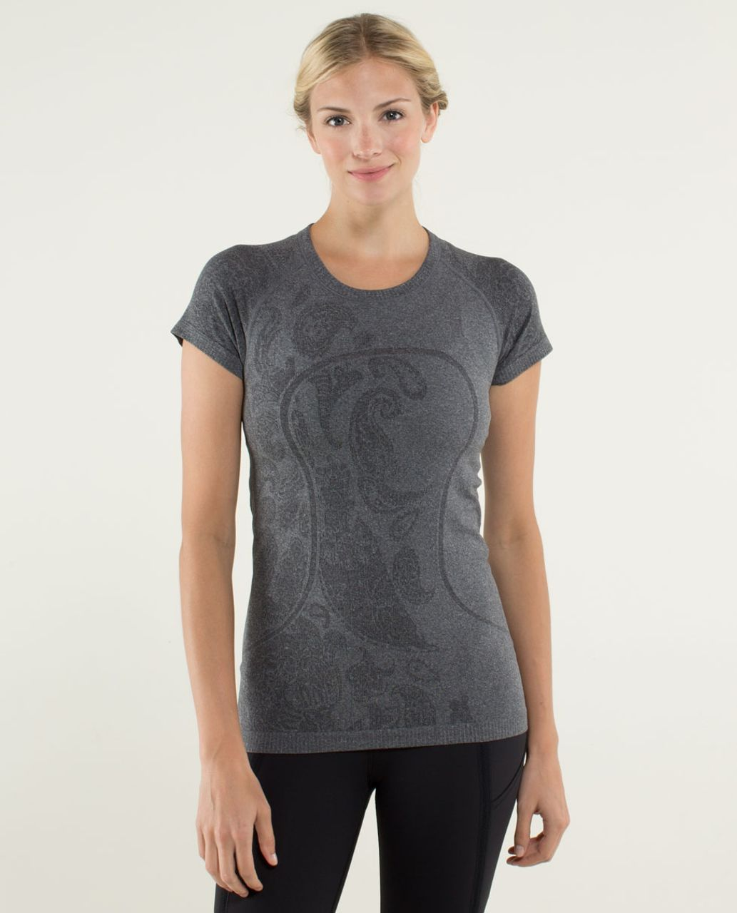 Lululemon Run:  Swiftly Tech Short Sleeve *Paisley - Heathered Black
