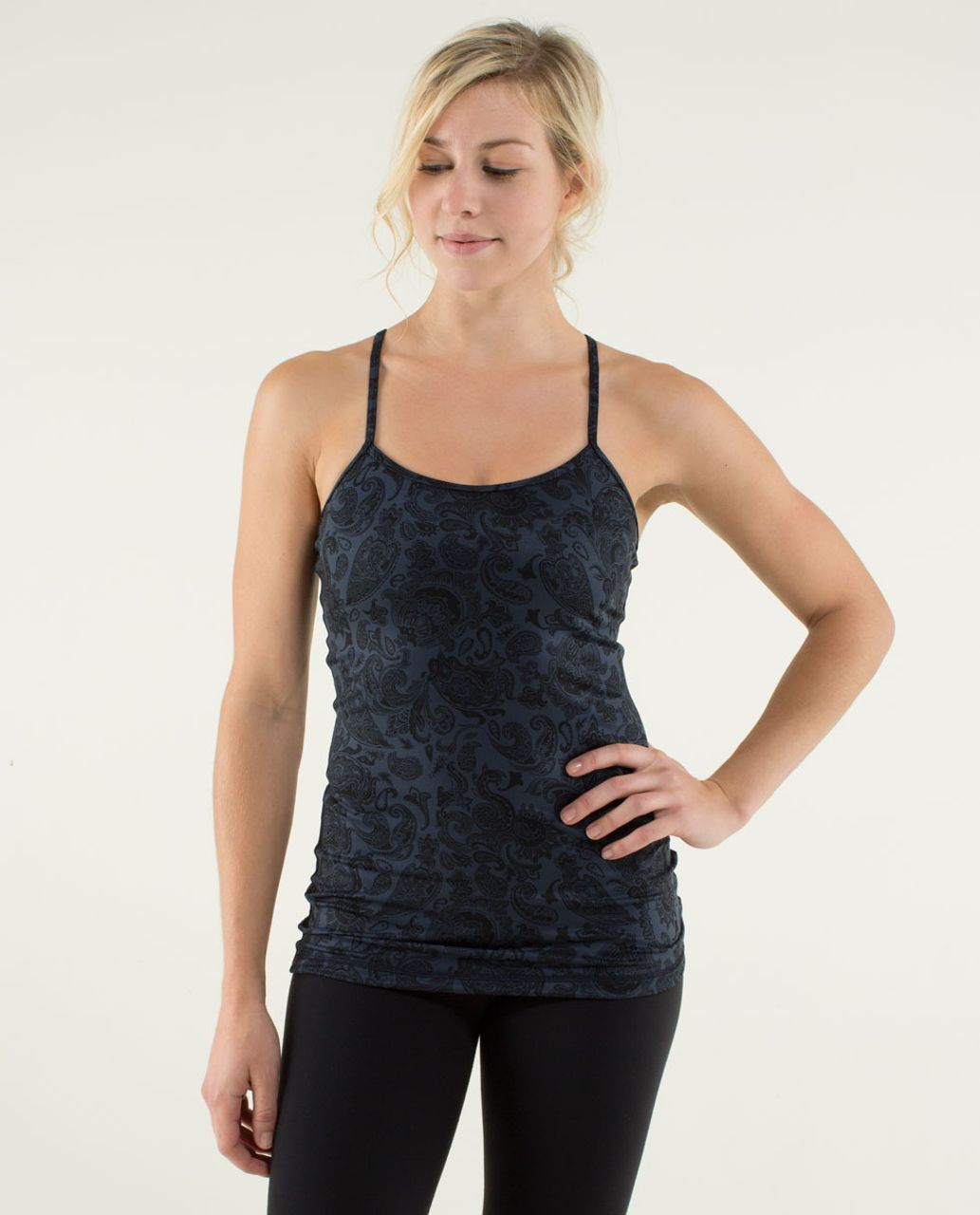 Lululemon Power Y Tank *Luon Light - Paisley Inkwell / Black