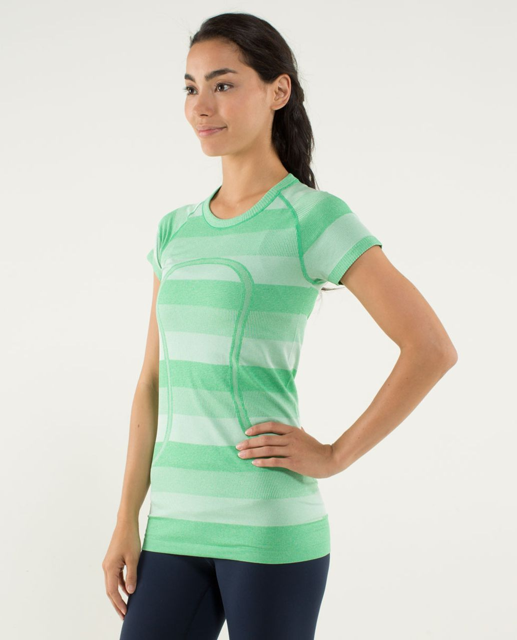 Lululemon Run:  Swiftly Tech Short Sleeve - Heathered Green Bean