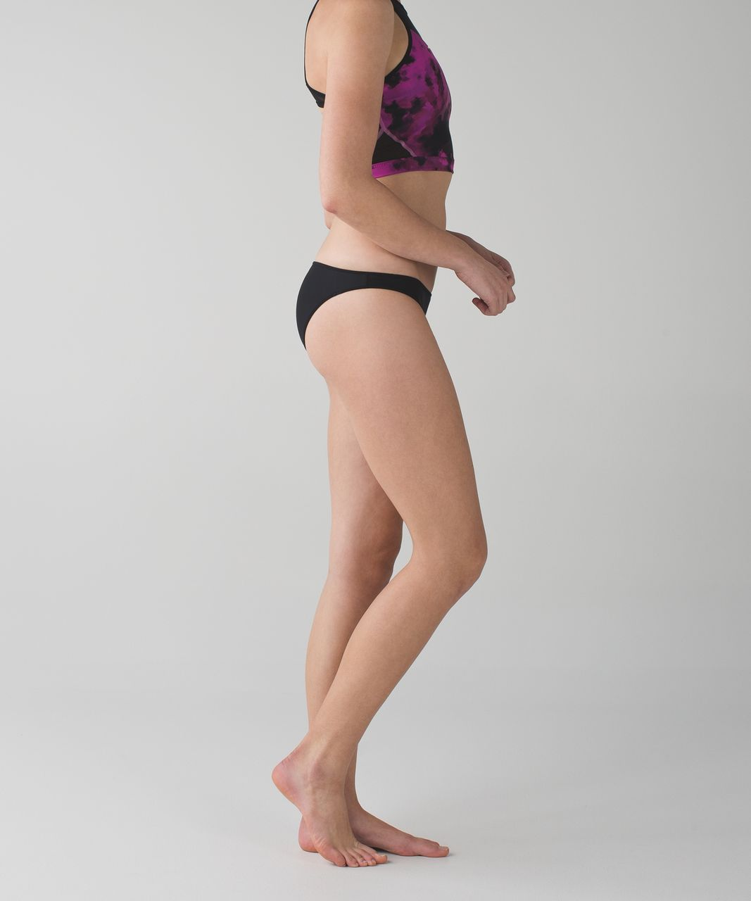 Lululemon Water: Surf To Sand Bikini Bottom - Black / Blooming Pixie Raspberry Black