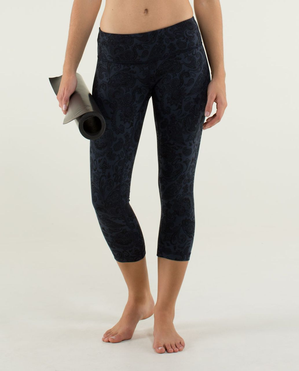 Lululemon Wunder Under Crop - Paisley Inkwell / Black