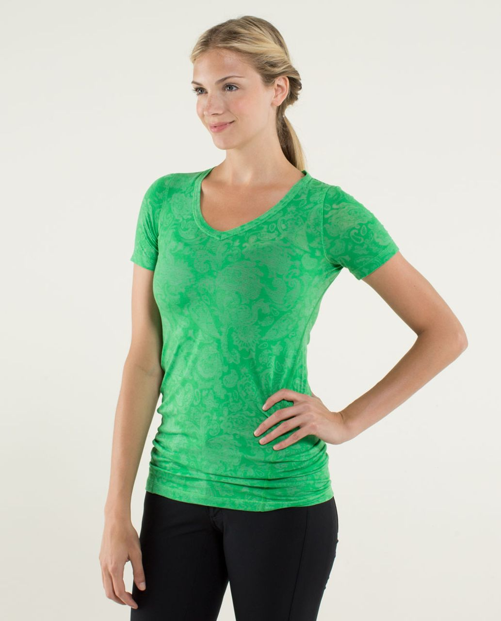 Lululemon Karmady Short Sleeve - Paisley Burnout Green Bean