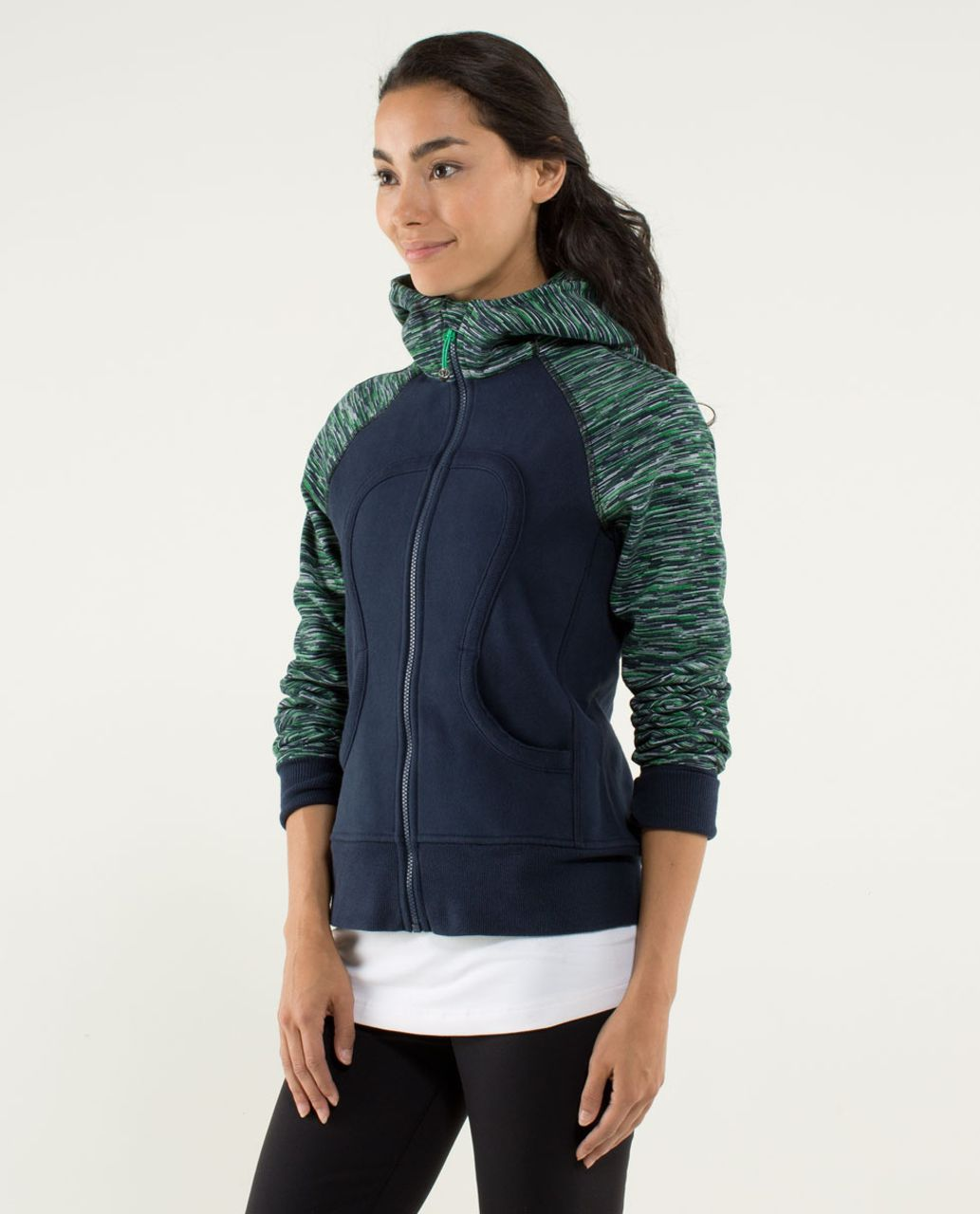Lululemon Scuba Hoodie *Stretch (Lined Hood) - Inkwell / Wee Are From Space Printed Green Bean