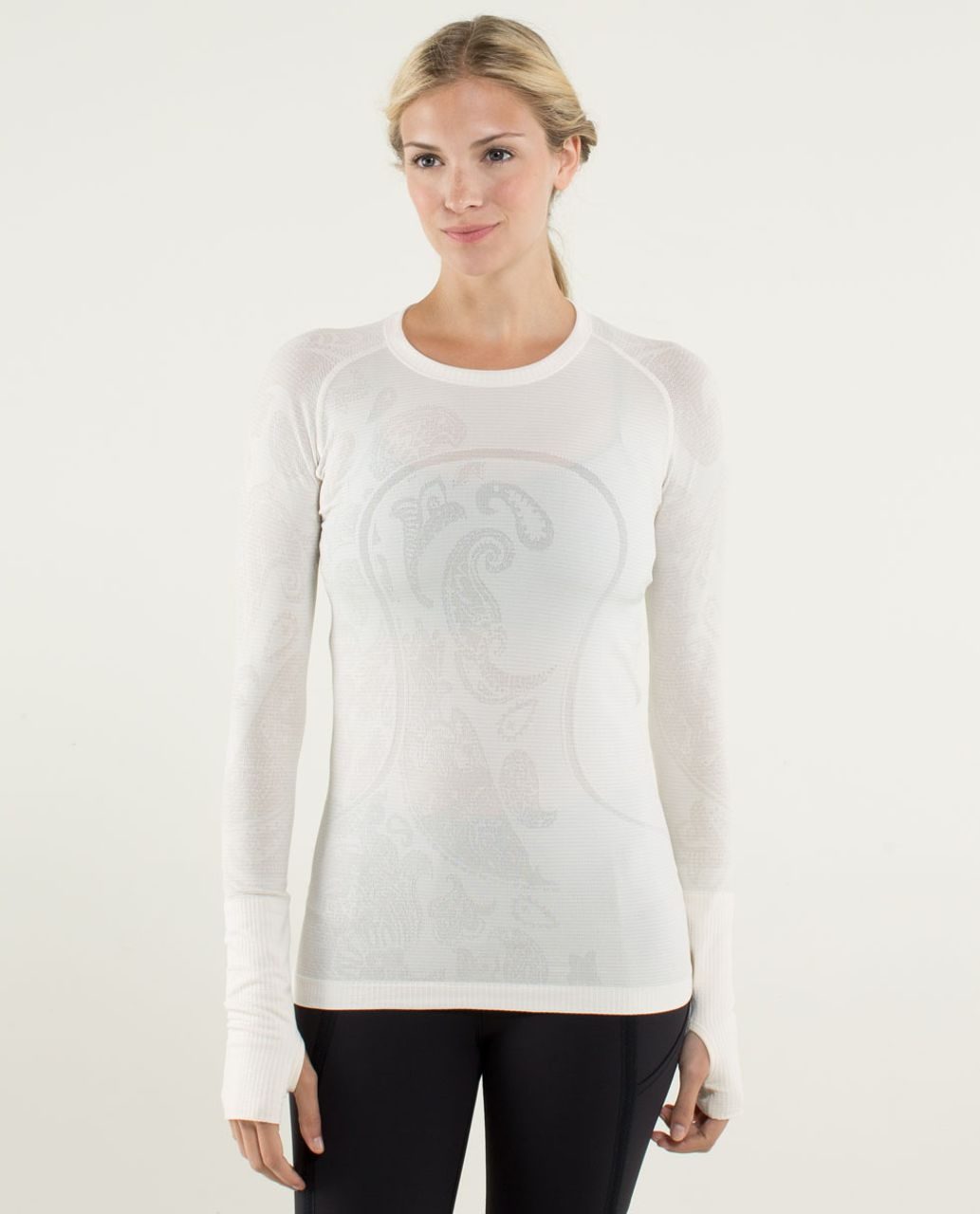 Lululemon Run:  Swiftly Tech Long Sleeve *Paisley - Heathered Angel Wing